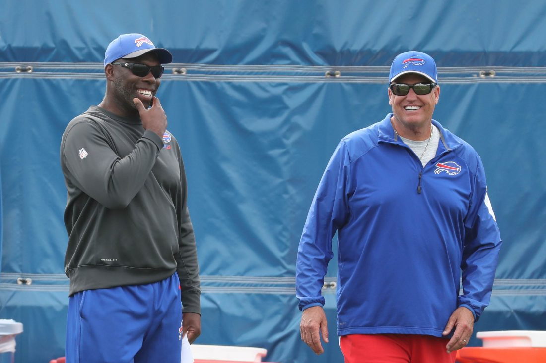 Bills offensive coordinator Anthony Lynn, left, was promoted to interim head coach after Rex Ryan, right, was fired. (James P. McCoy/Buffalo News)
