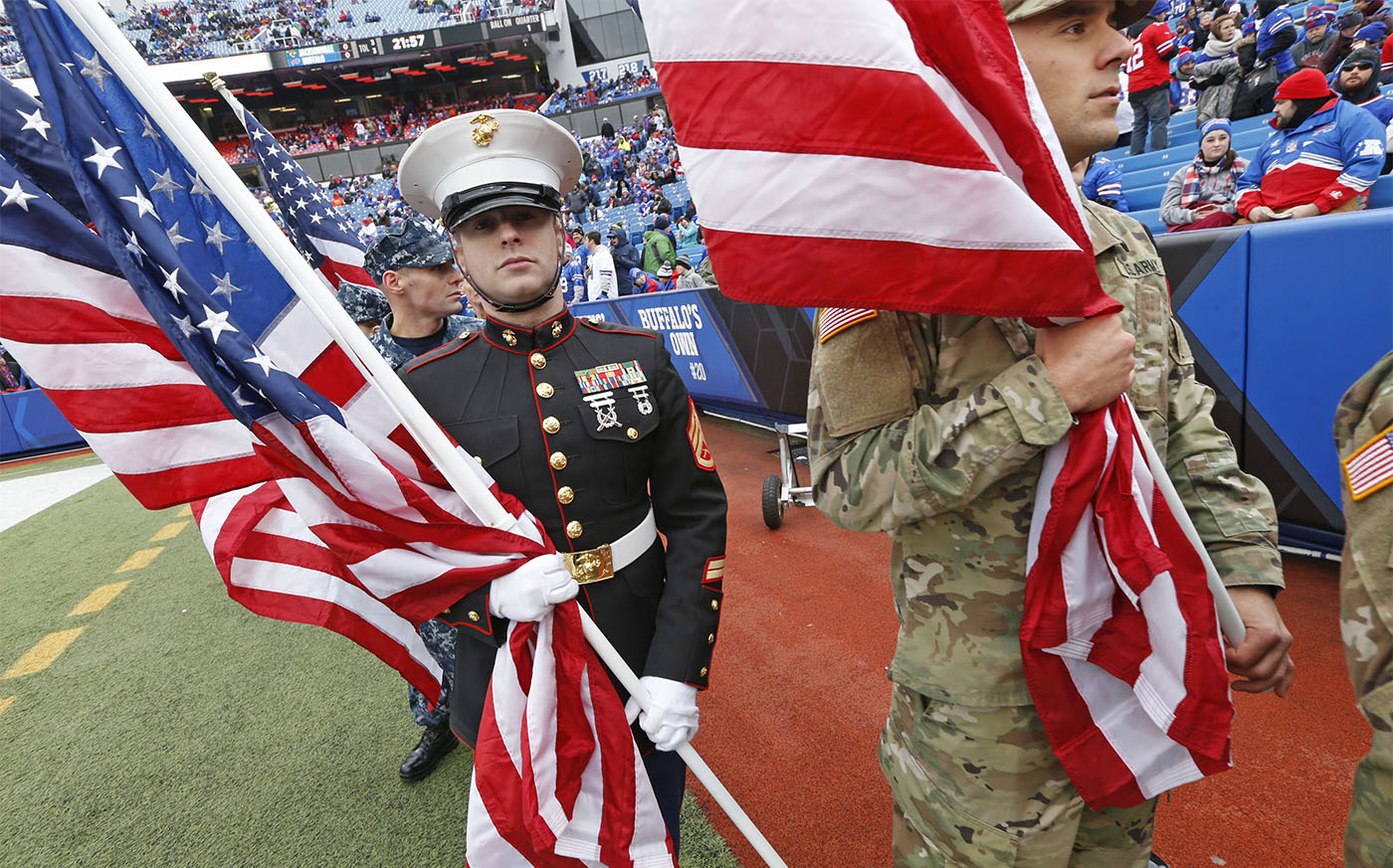 Military servicemen wait of the field as part of the salute to military celebration. Buffalo Bills vs. Jacksonville game today at New Era Field in Orchard Park on Sunday, Nov. 27, 2016. (Robert Kirkham/Buffalo News)