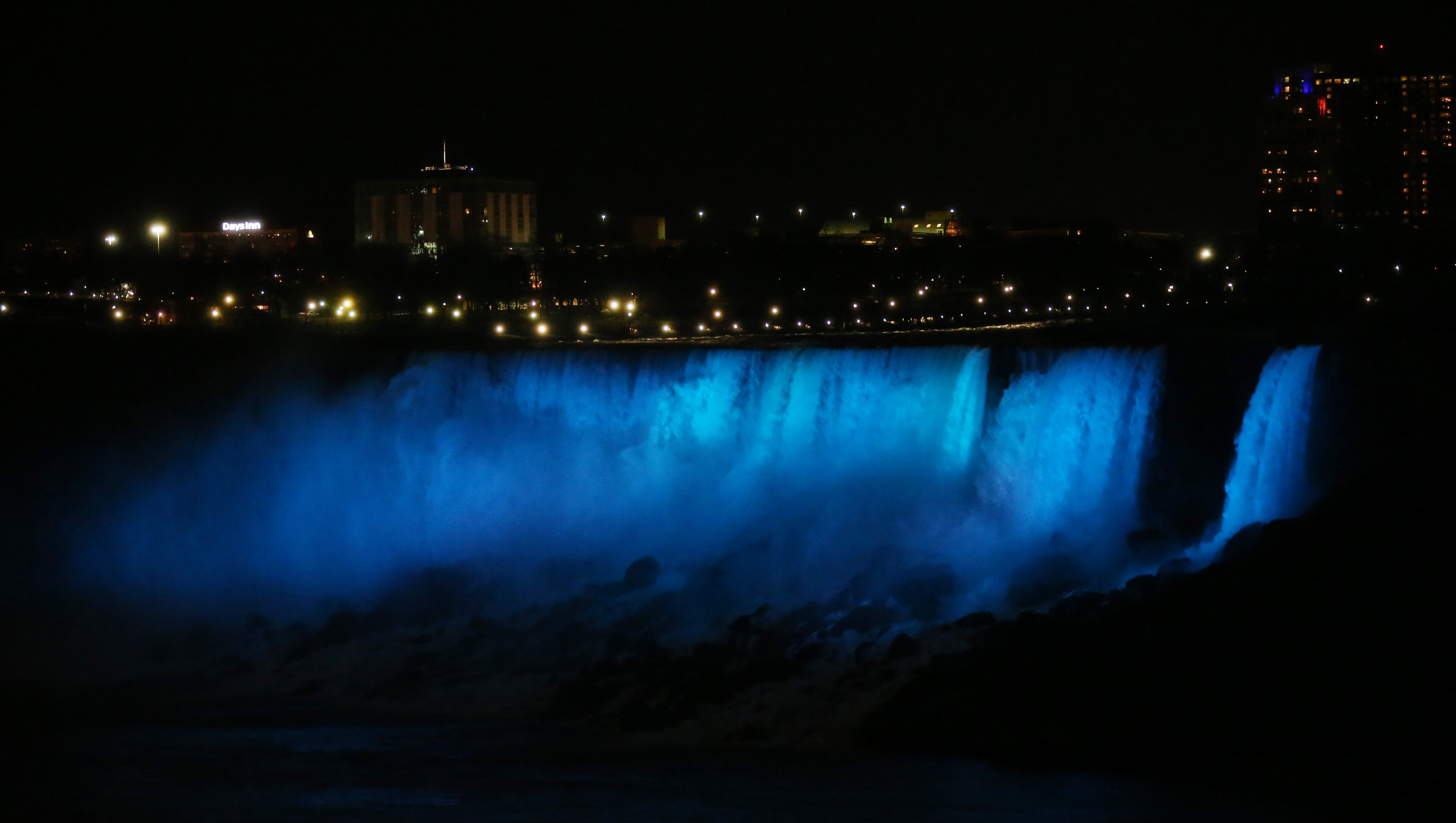 At 6:10 p.m., the Niagara Falls Illumination Board flipped the switch to turn on the new $4 million LED lighting, Thursday, Dec. 1, 2016. (Sharon Cantillon/Buffalo News)