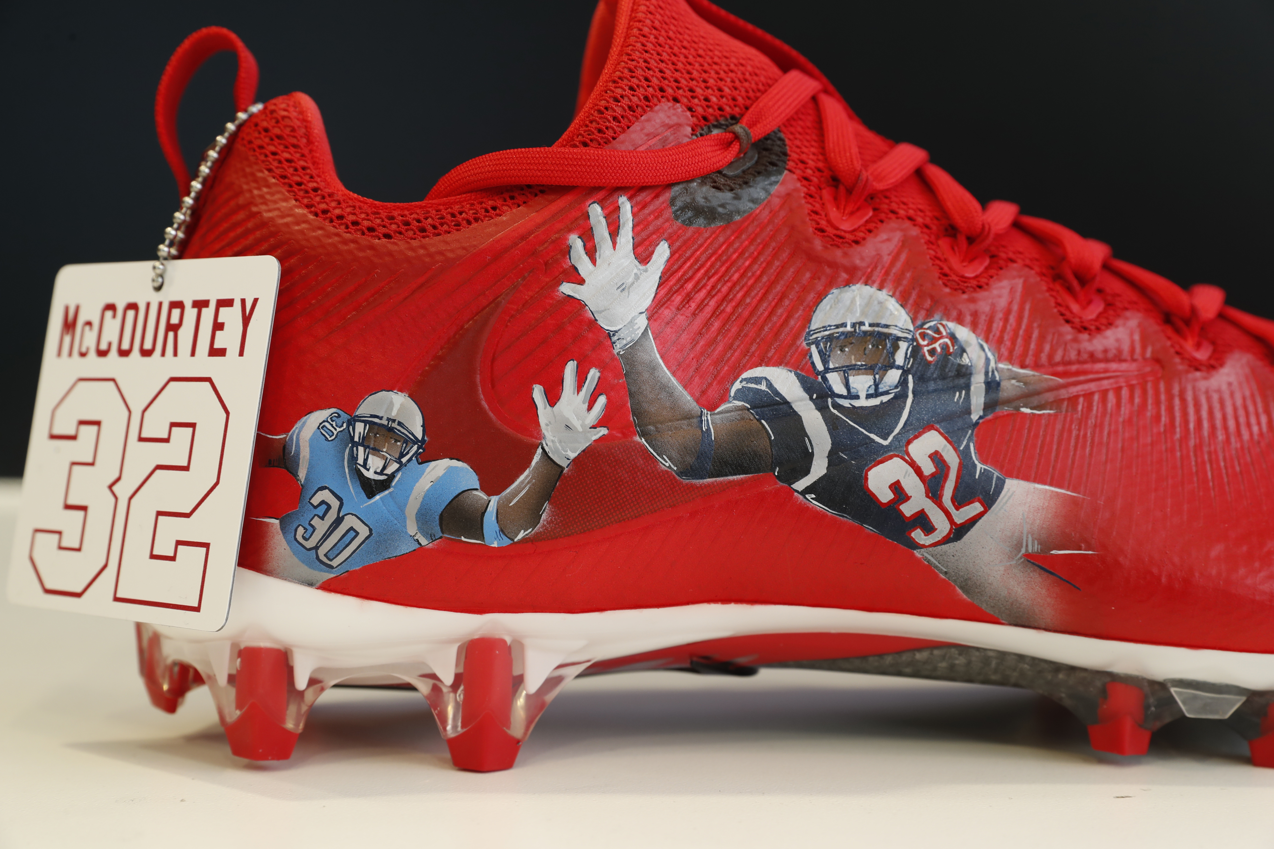 Identical twin brothers Devin and Jason McCourty'a Sickle Cell made at Sole Flight in the Walden Galleria Mall for the NFL's Cleats for a Cause on Tuesday, Nov. 29, 2016.Devin plays for the New England Patriots while Jason plays for the Tennessee Titan(Harry Scull Jr./Buffalo News)