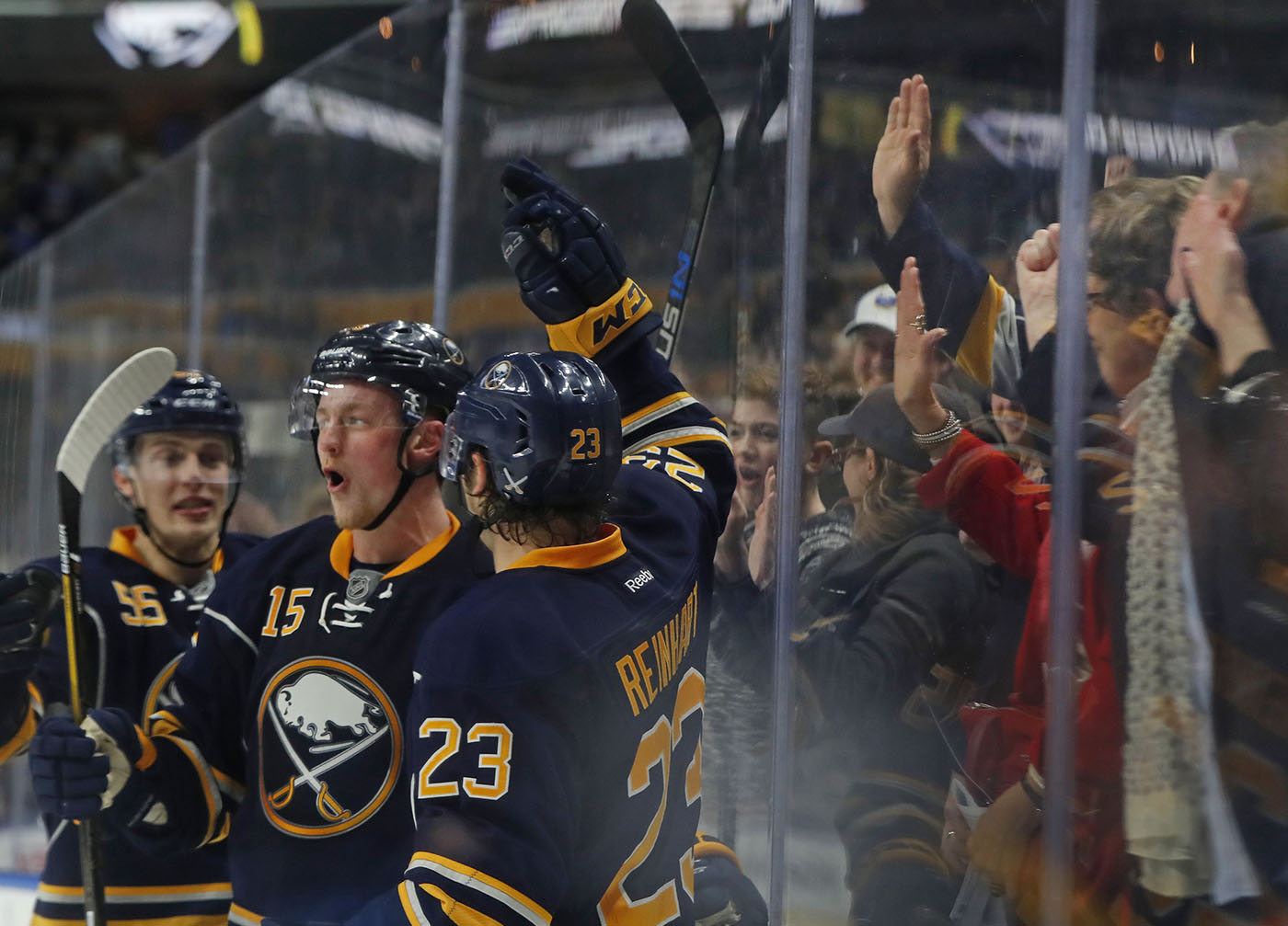 Buffalo Sabres jack EIchel celebrates his first goal of the game against the New York Rangers during third period action at the Key Bank Center on Thursday, Dec. 1, 2016. (Harry Scull Jr./Buffalo News)