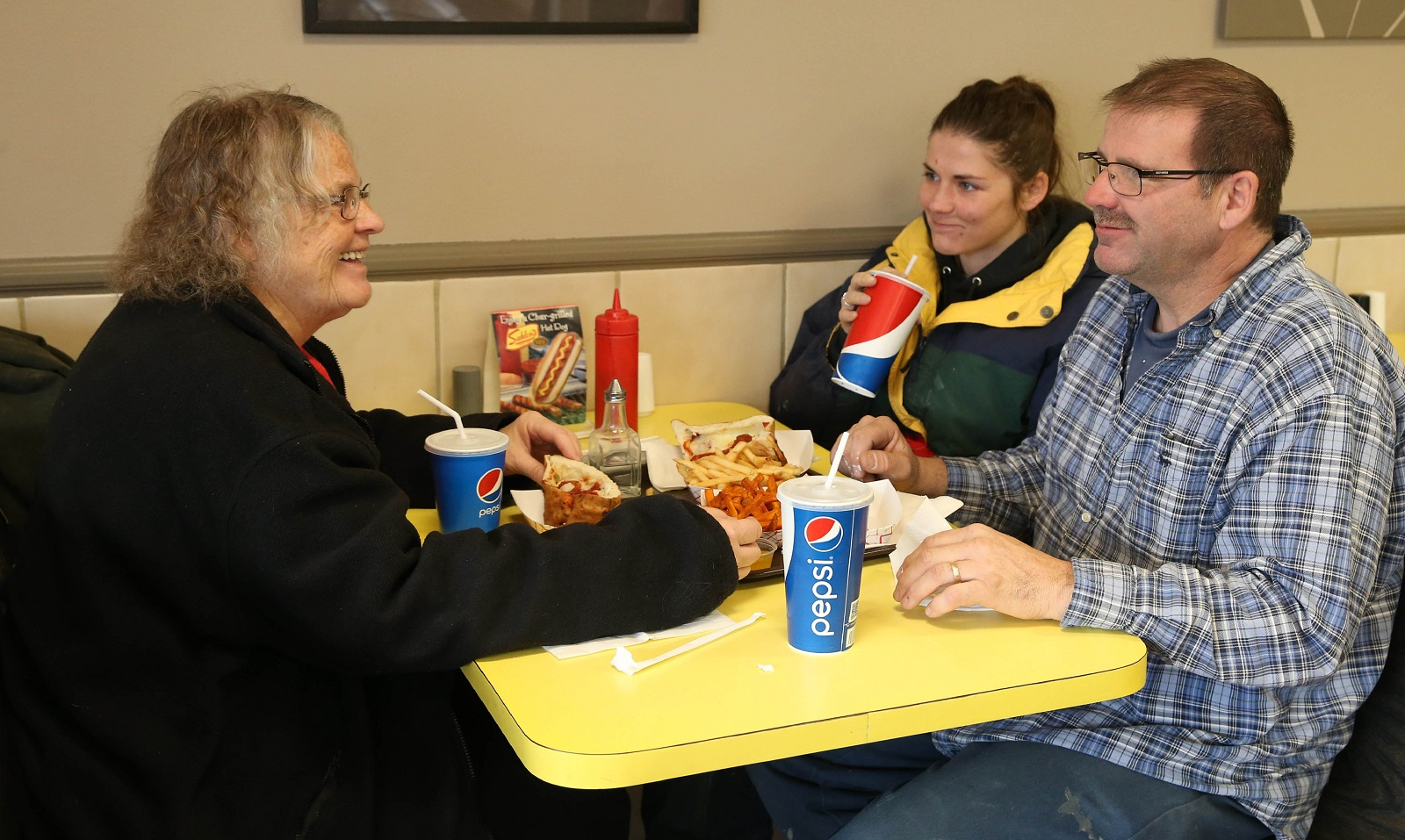 Eileen Kowal of South Buffalo, her granddaughter Ashley Kowal of Hamburg and her son Frank Kowal of Orlando, Fla., have lunch at Pete-N-Paul's. (Sharon Cantillon/Buffalo News)