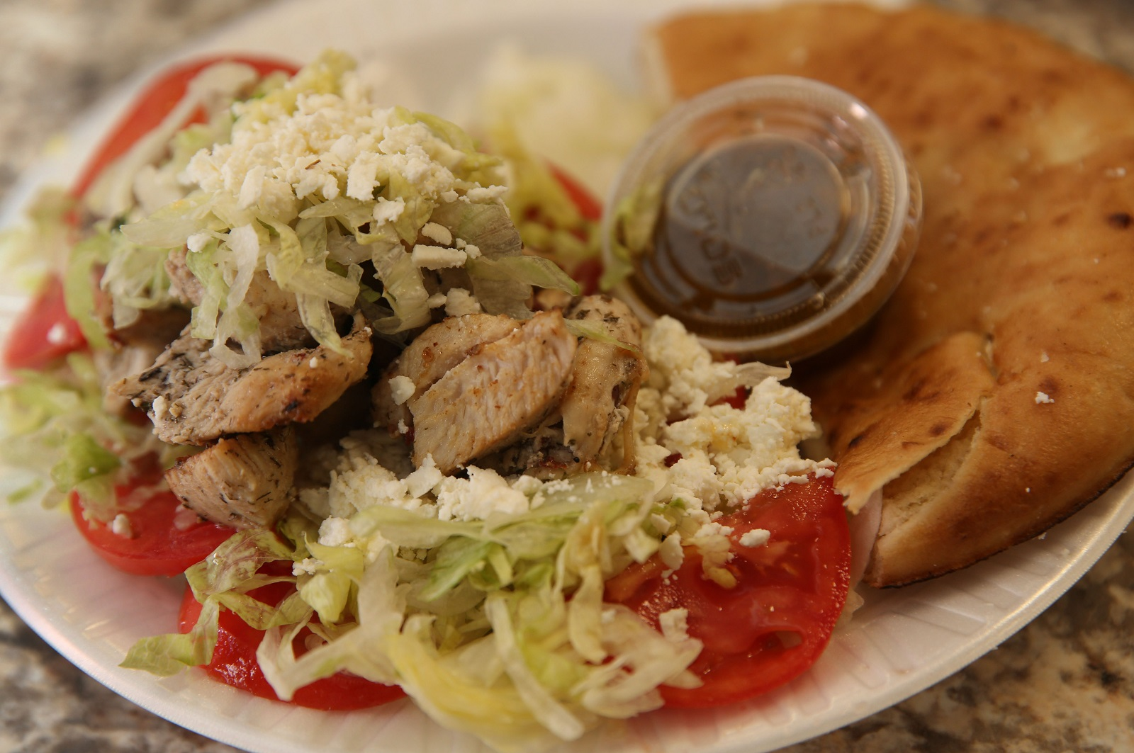 Large chicken souvlaki salad from Pete-N-Paul's. (Sharon Cantillon/Buffalo News)