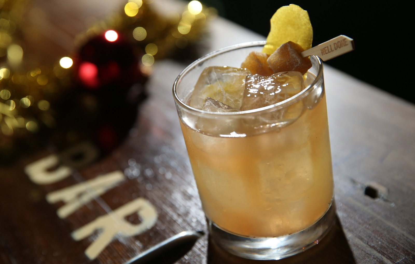 Penicillin, a Ballyhoo cocktail, is made with scotch, lemon, honey water, house-made ginger syrup and Islay scotch.  (Sharon Cantillon/Buffalo News)