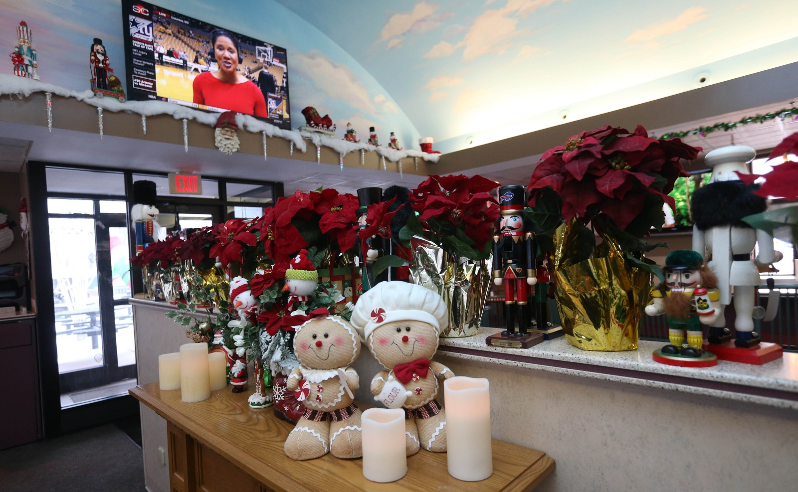 Seasonal decoration inside Brunner's Eatery. (Sharon Cantillon/Buffalo News)