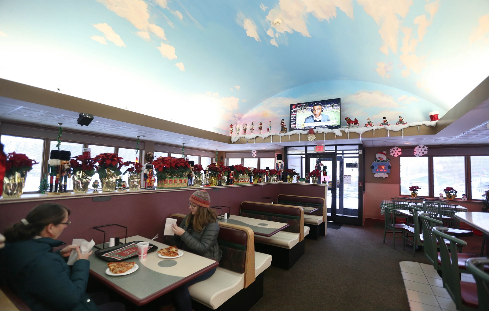 A look inside Brunner's Eatery, with its eye-catching ceiling. (Sharon Cantillon/Buffalo News)