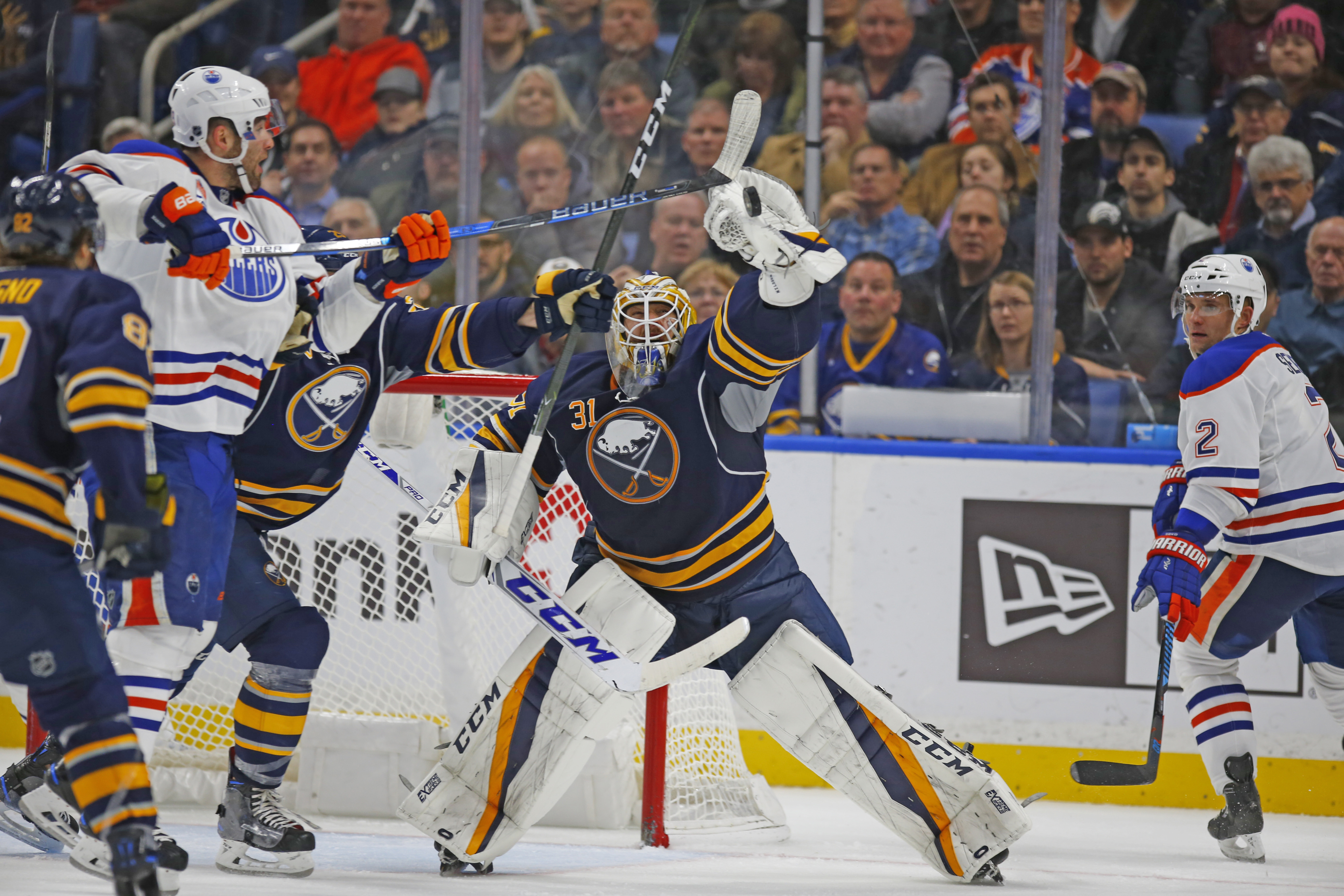 Buffalo Sabres goaltender Anders Nilsson makes a save against the Edmonton Oilers during third period action Tuesday (Harry Scull Jr./Buffalo News)