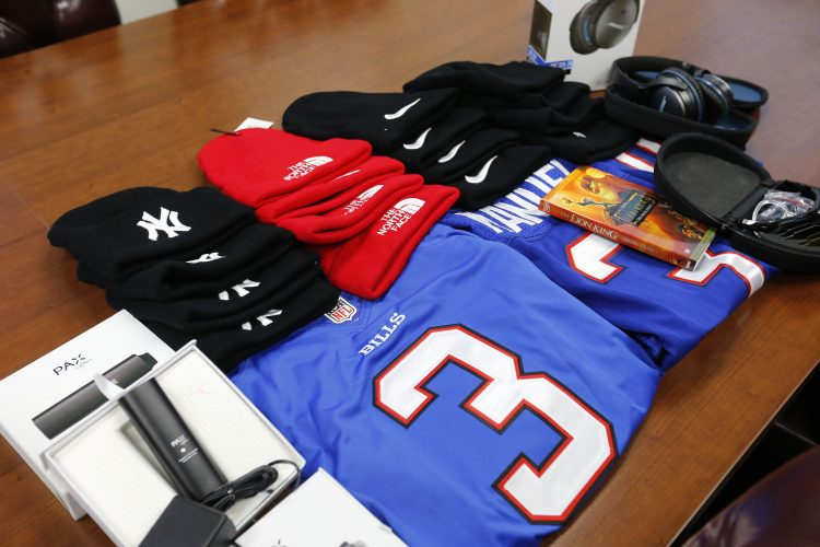Some of the counterfeit items at the office of Homeland Security Investigations Buffalo Thursday, December 8, 2016.    (Mark Mulville/The Buffalo News)