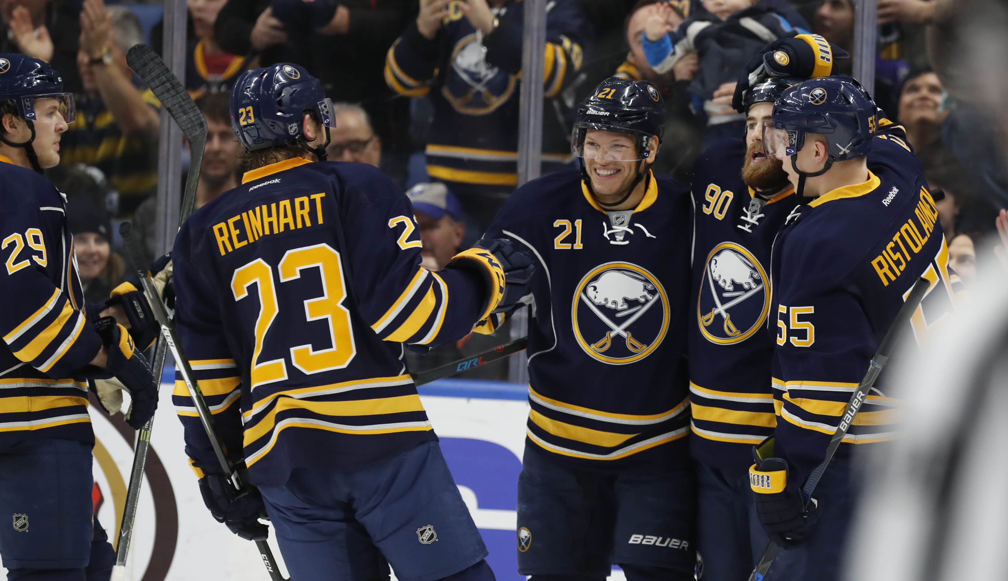 Sam Reinhart, Kyle Okposo (21), Ryan O'Reilly and Rasmus Ristolainen all reached the score sheet Tuesday. (Harry Scull Jr./Buffalo News)