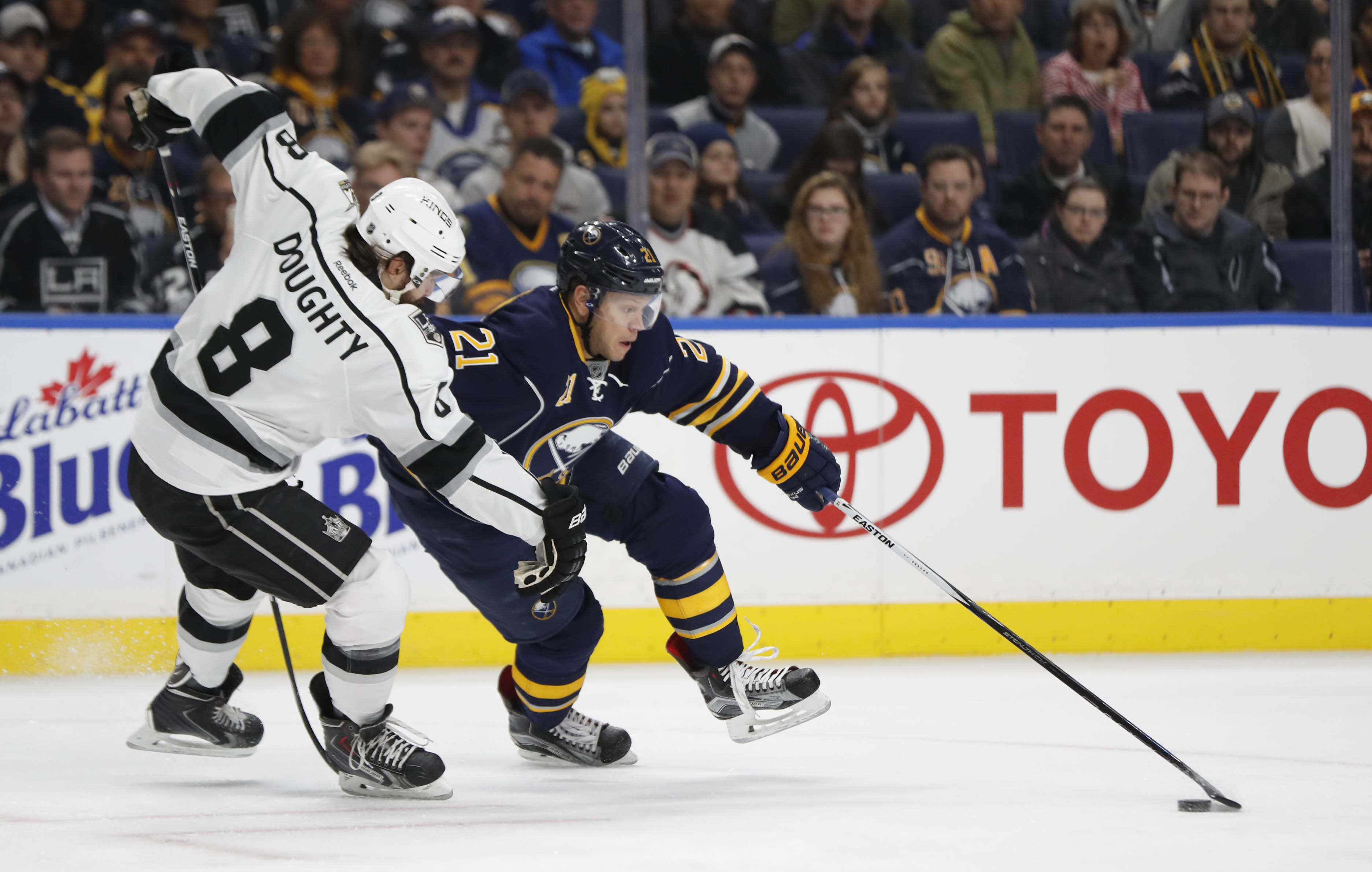 Kyle Okposo, who helped Buffalo beat the Kings, will look for a win against his old team Friday. (Harry Scull Jr./Buffalo News)