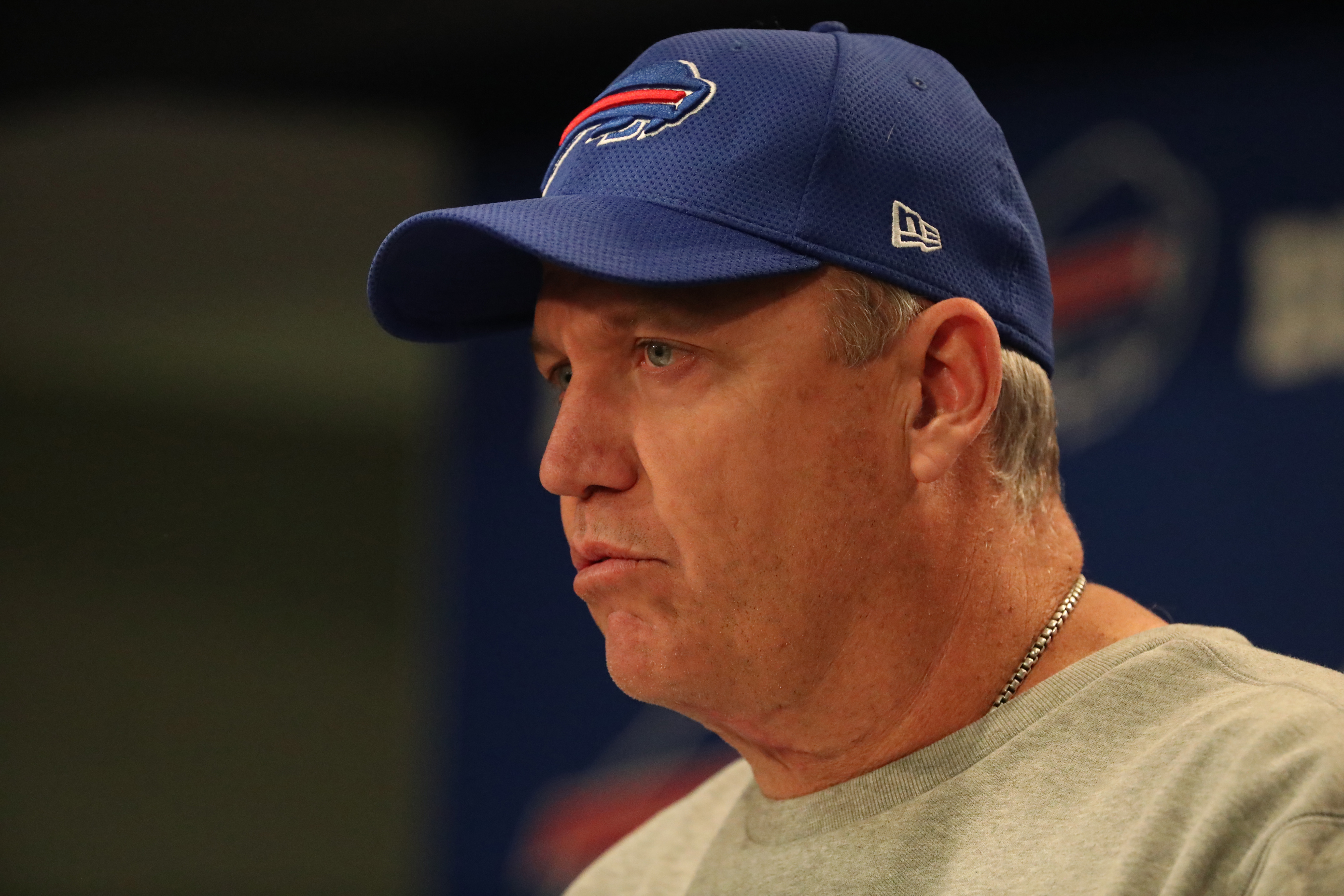 Buffalo Bills head coach Rex Ryan talks to the press at his weekly press conference at ADPRO Sports Training Center  in Buffalo N.Y. on Wednesday, Dec. 14, 2016.  (James P. McCoy/Buffalo News)