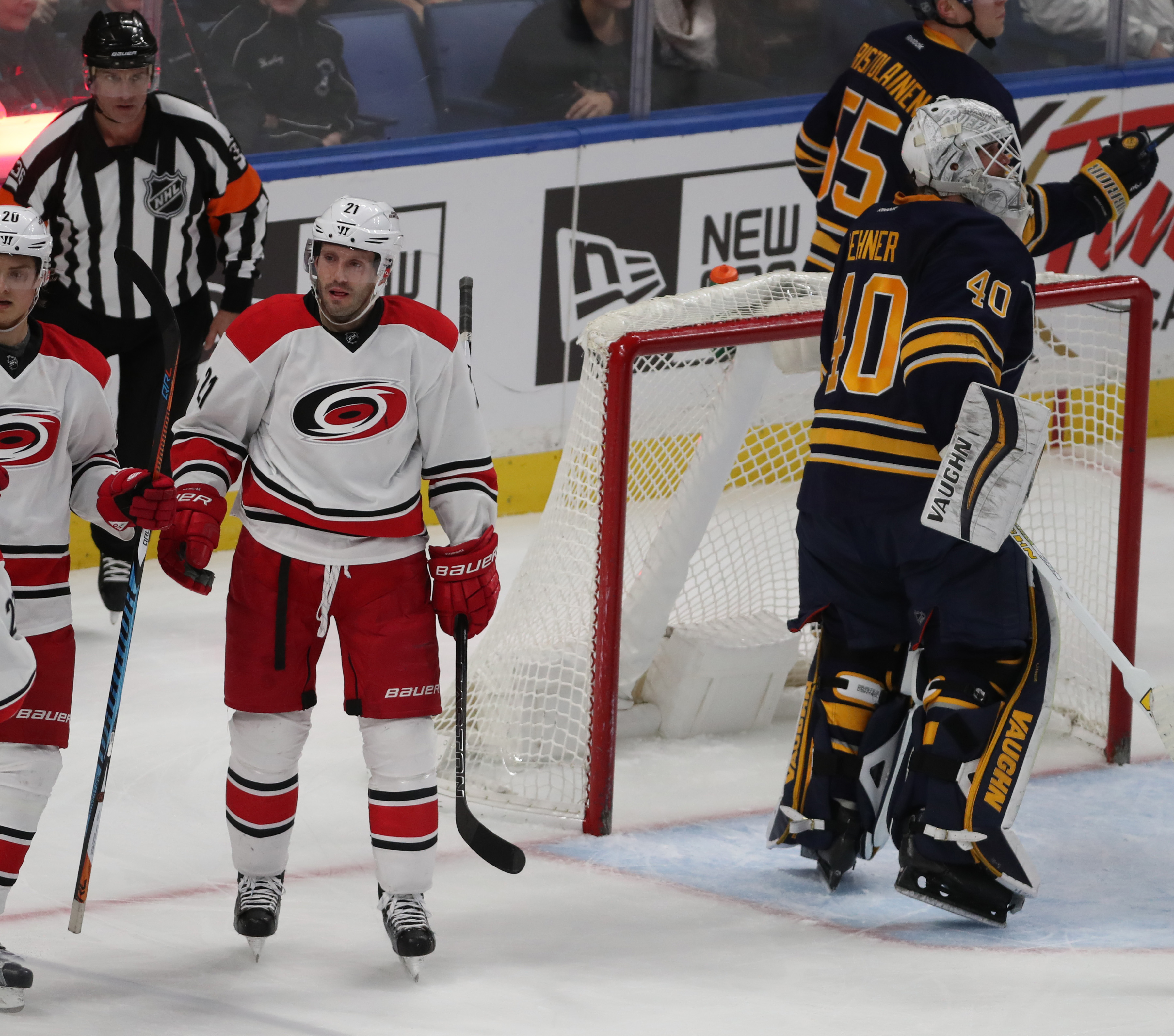 Lee Stempniak recorded his 10th assist of the season for the Hurricanes.  (James P. McCoy/Buffalo News)