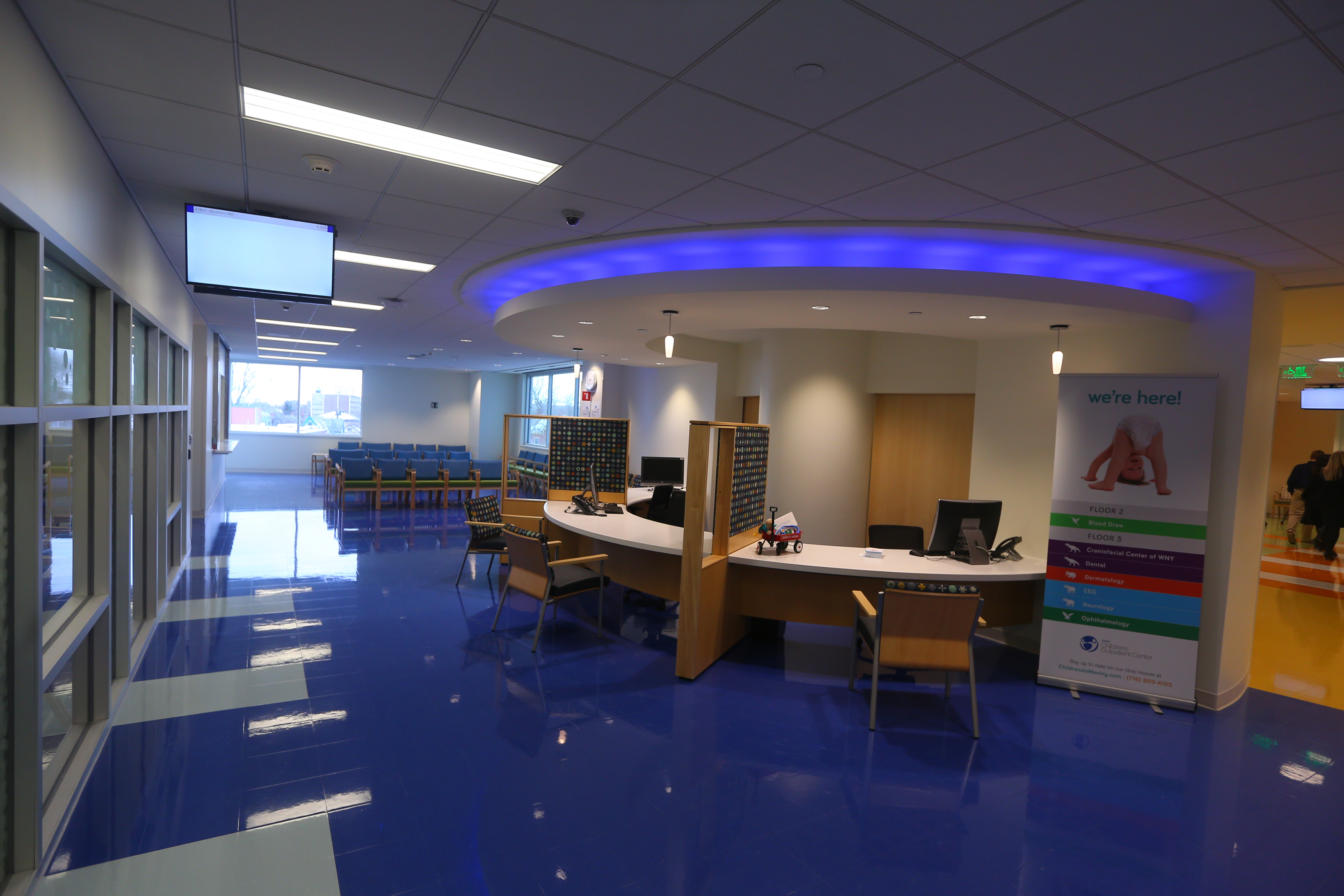 A reception area at the new Oishei Children's Outpatient Centerat the new Women & Children's Hospital of Buffalo in the Conventus Building. It's set to open Monday, Jan. 3, 2017. (John Hickey/Buffalo News)