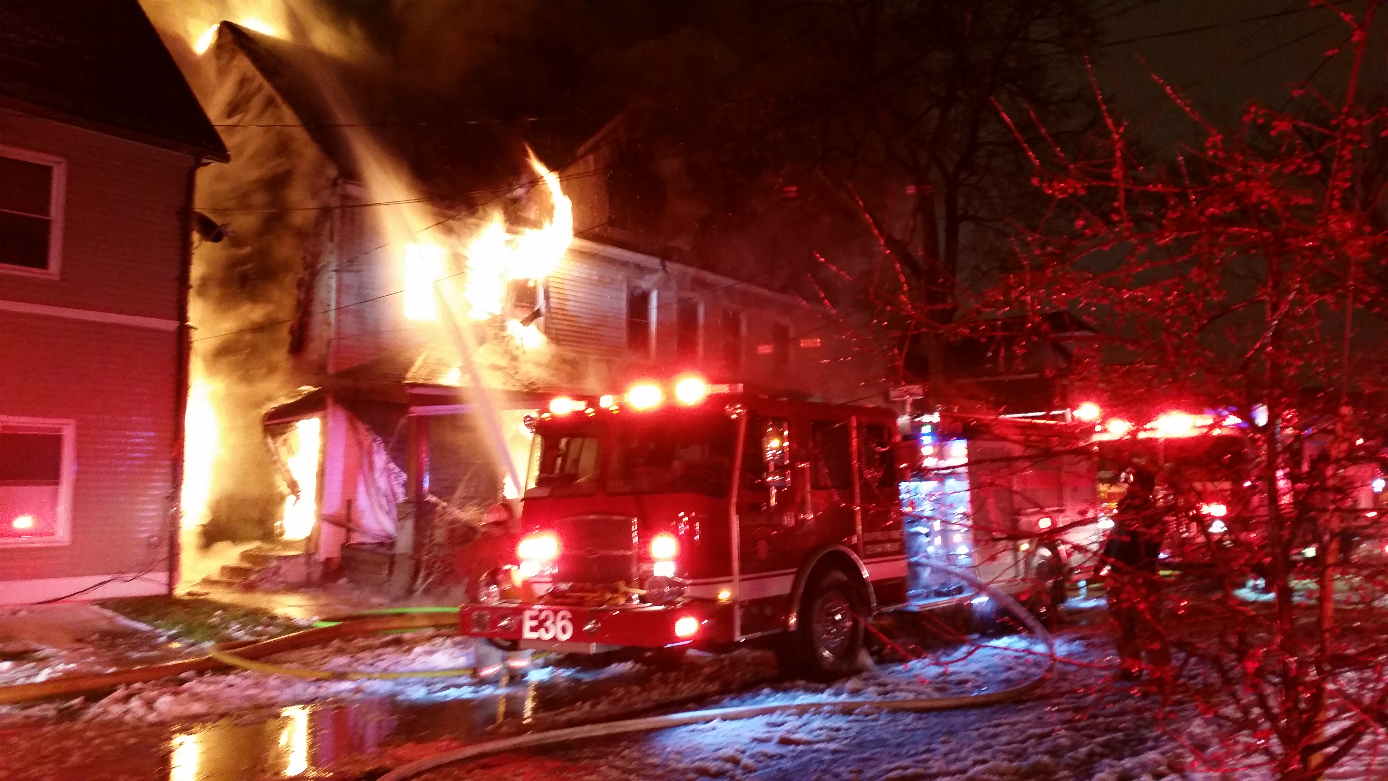 The fire on Grote Street early Monday morning. (David F. Kazmierczak/Special to The News)