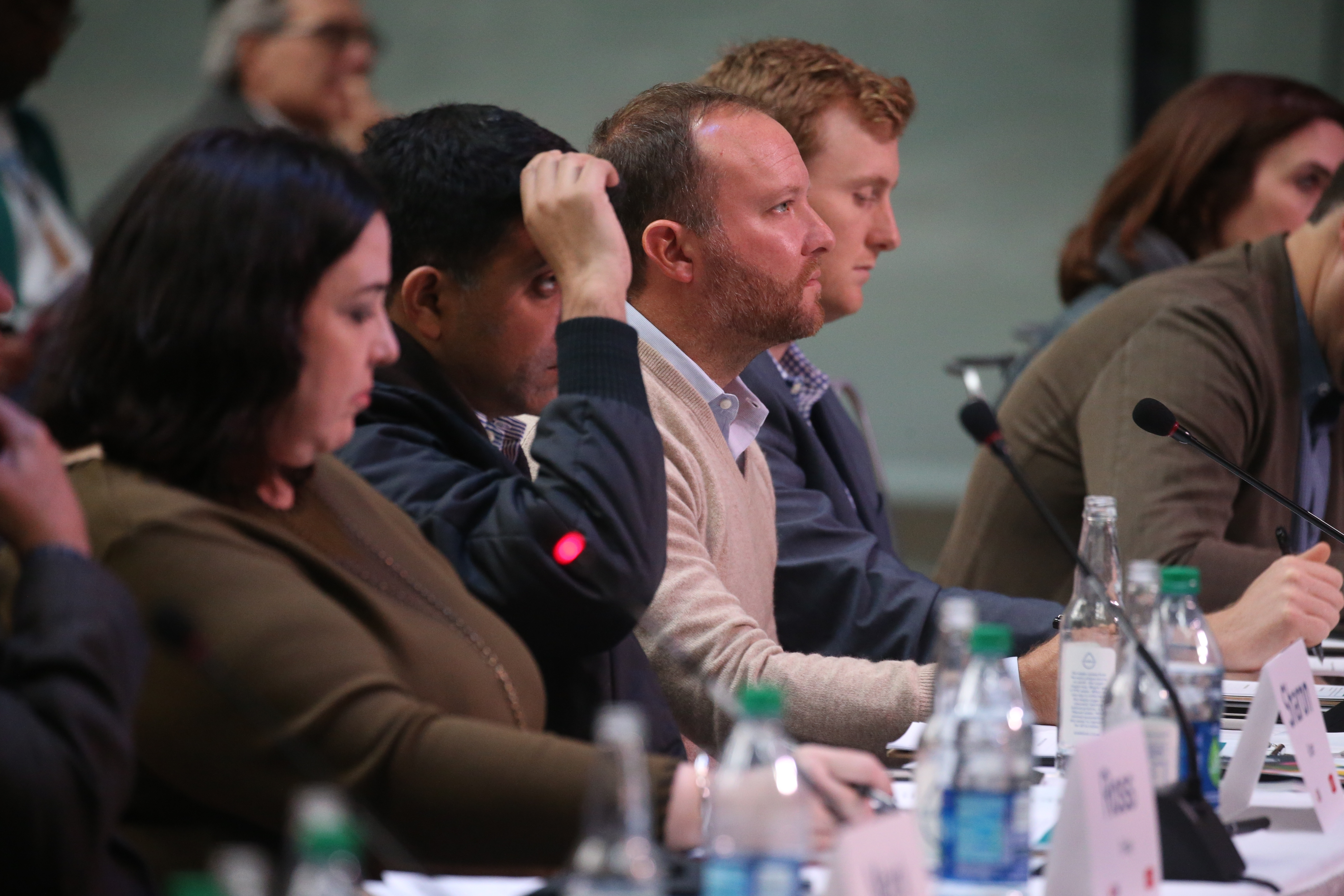 Judges listen to a pitch at the 43North Competition at Rich Atrium in October. (John Hickey/Buffalo News)