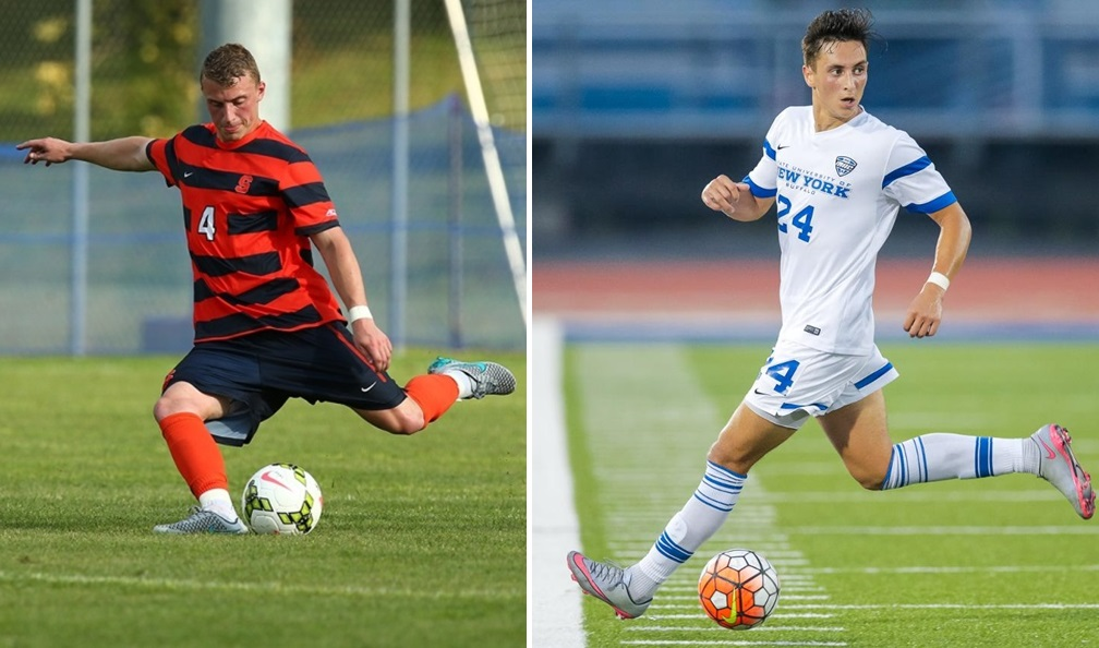 Liam Callahan, left, just completed his college career at Syracuse, while Braden Scales, right, reached two MAC title games with UB. Both are Section VI soccer products. (via Syracuse and UB athletics)