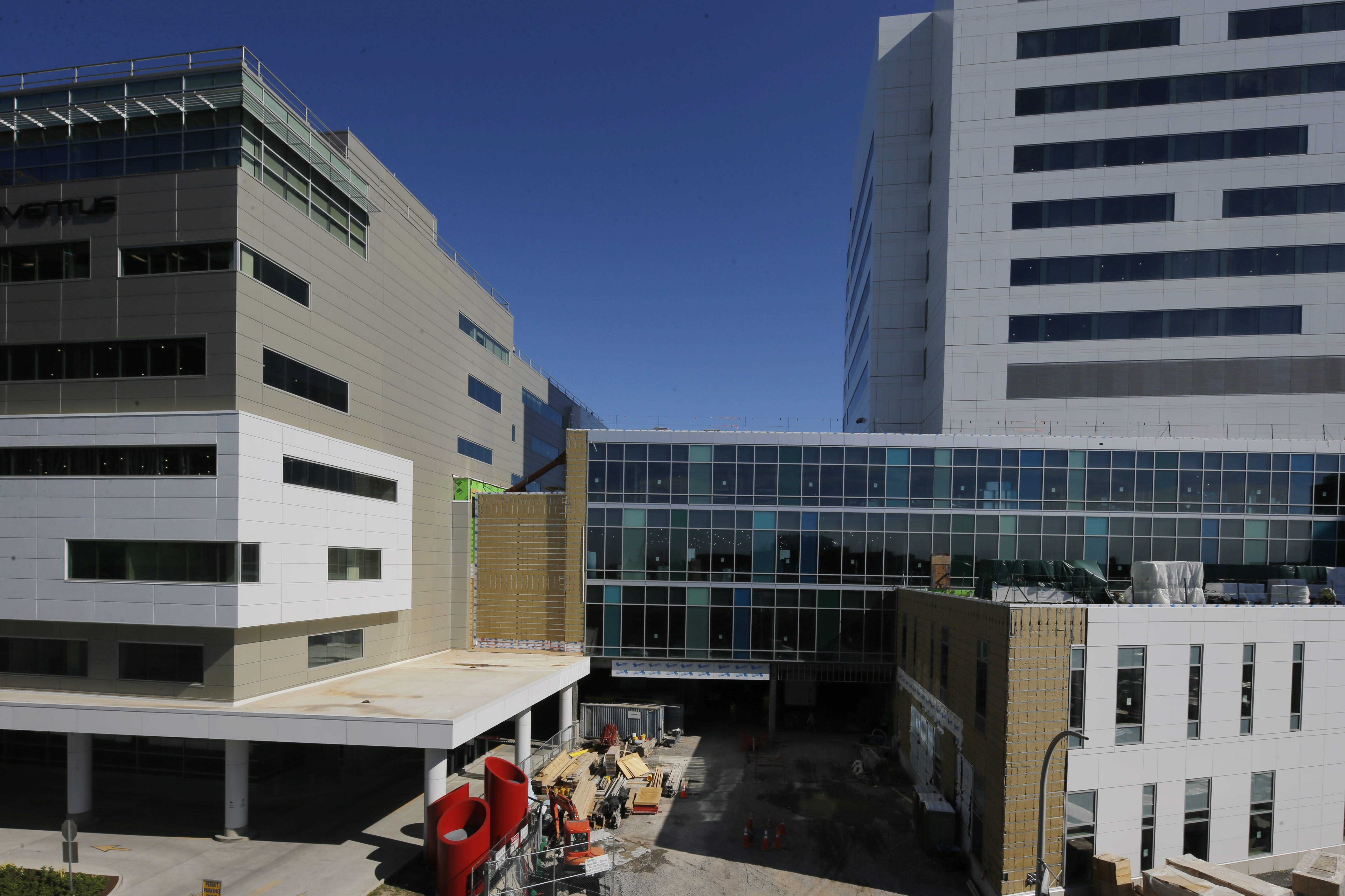 Conventus, left, the site of the Oishei Children's Outpatient Center, and the future Oishei Children's Hospital, right, on the Buffalo Niagara Medical Campus, shown early in 2016. (Derek Gee/Buffalo News)