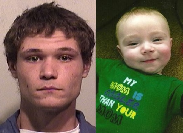 Dillon Hossbach, left, admitted killing his 6-month-old son William. (Photos courtesy of Niagara County Sheriff's Office and Rutland-Corwin Funeral Home)