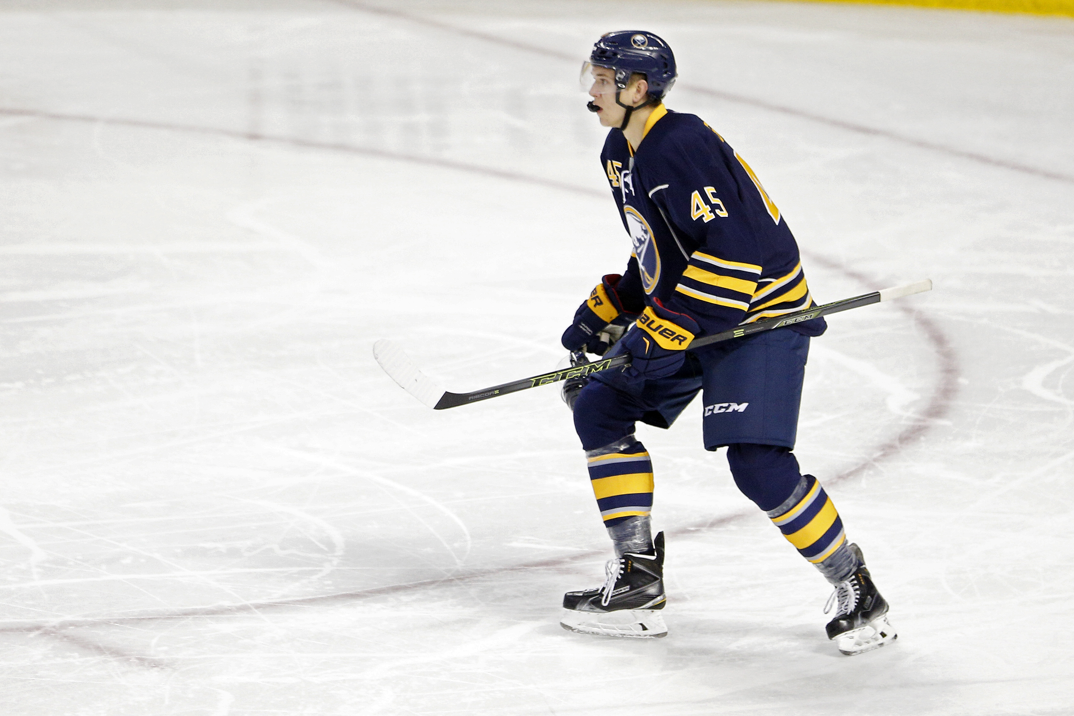 Brendan Guhle has appeared in preseason games for the Sabres, but Saturday is the real deal. (Getty Images)