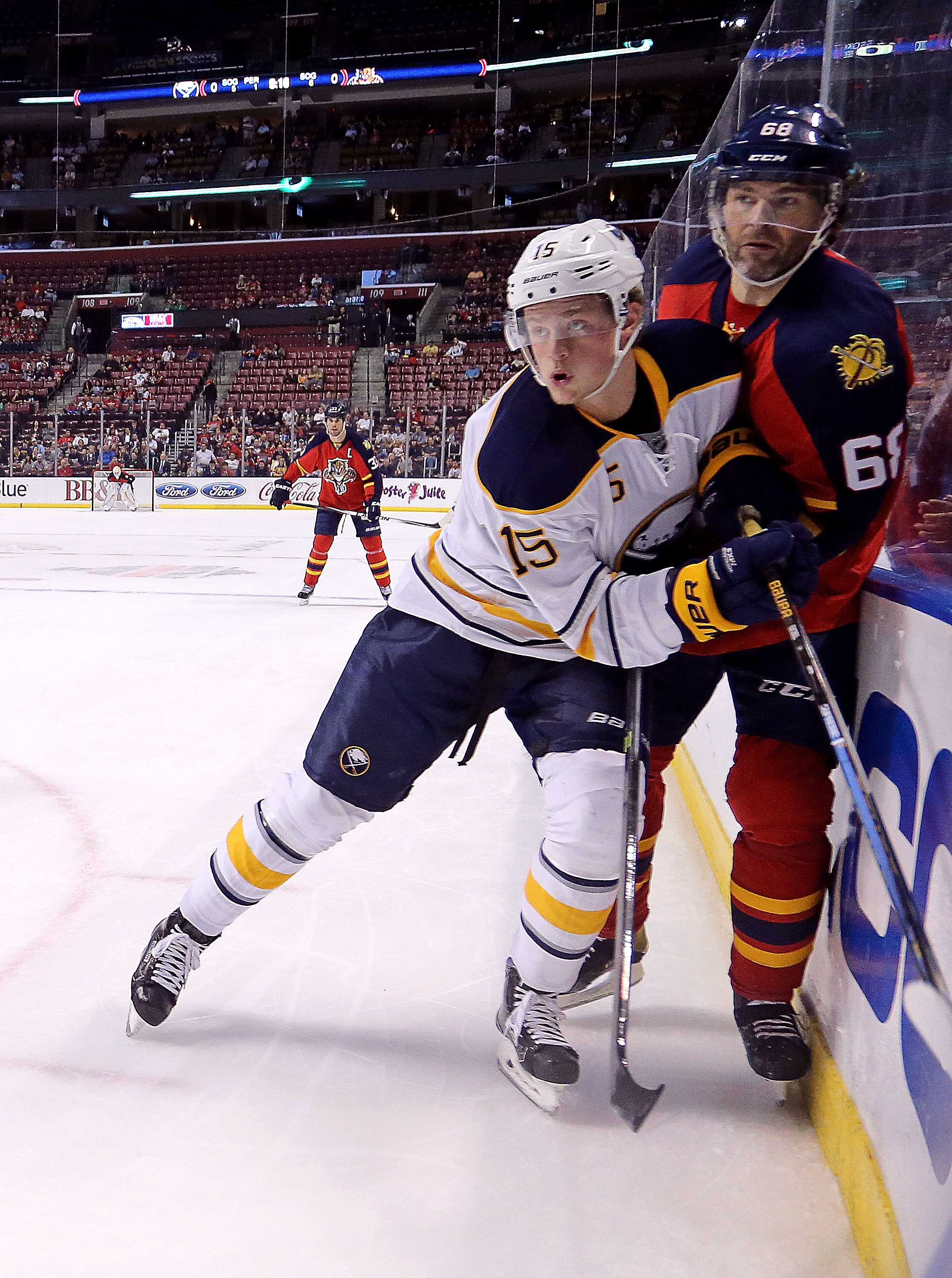 The Sabres' Jack Eichel and Florida's Jaromir Jagr will meet again Tuesday. (Getty Images)