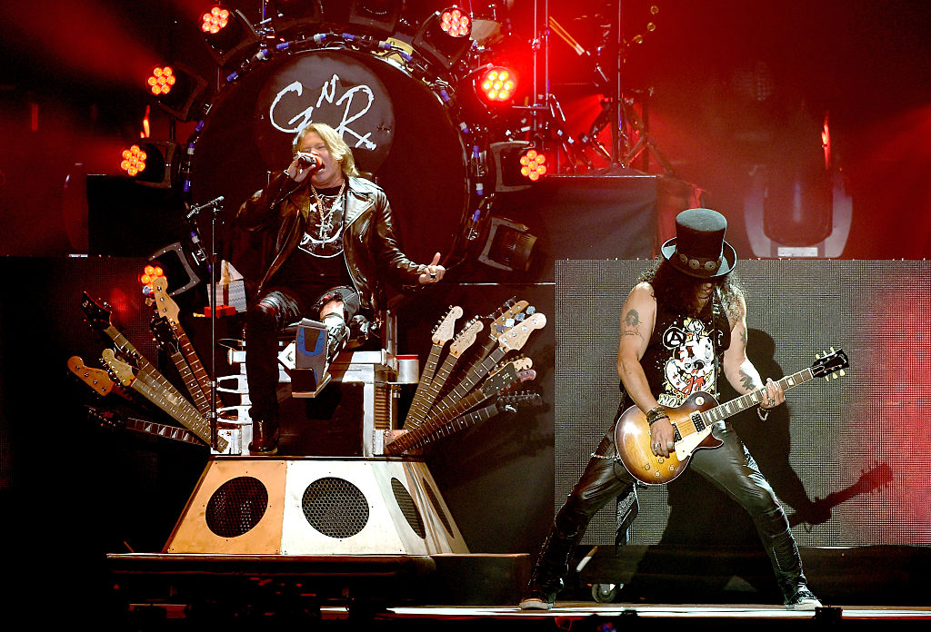 Axl Rose and Slash of Guns N' Roses performs onstage during day 2 of the 2016 Coachella Valley Music & Arts Festival Weekend 1 at the Empire Polo Club on April 16, 2016 in Indio, California. (Photo by Kevin Winter/Getty Images for Coachella)