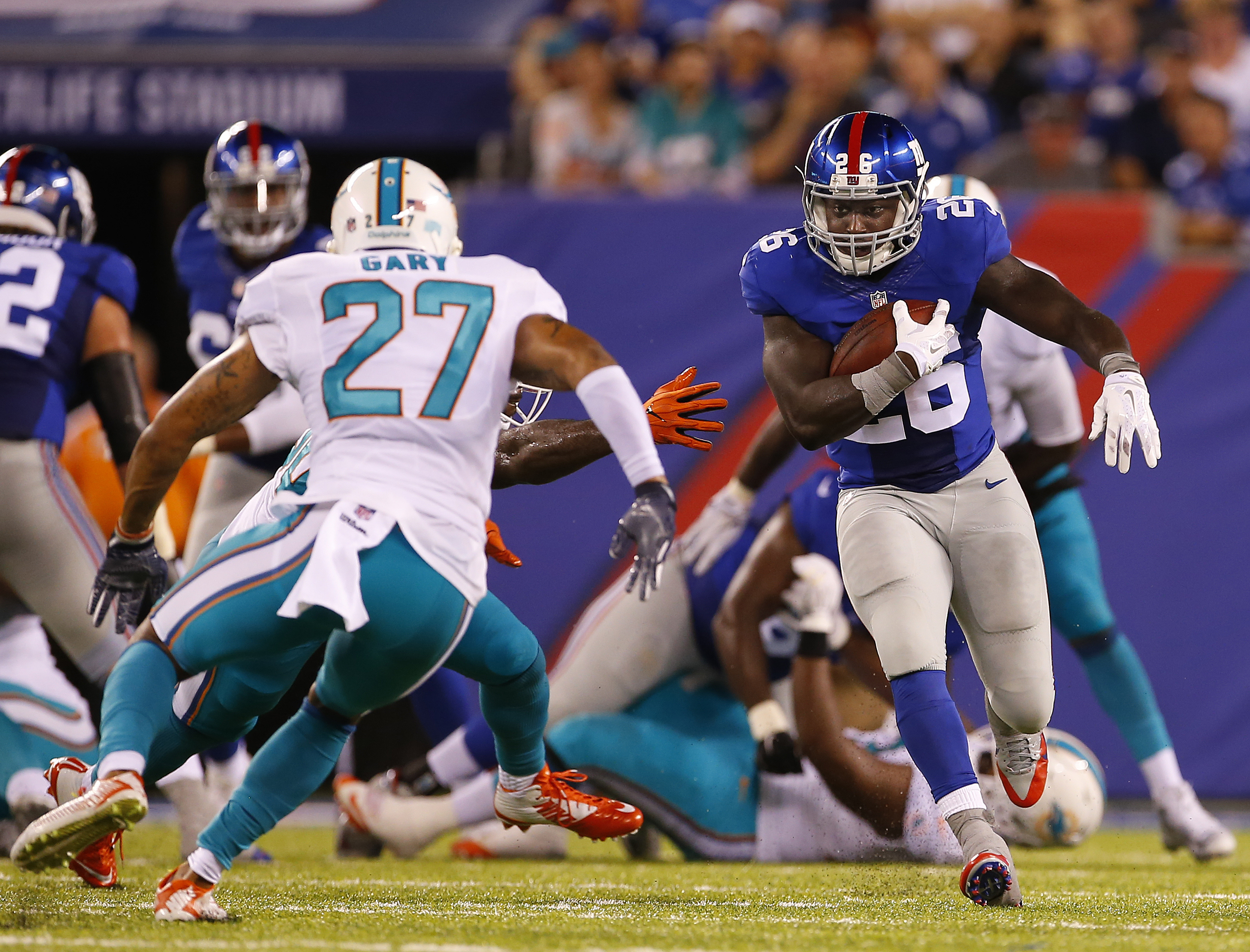Current Bills safety Shamiel Gary (27) spent six games with the Miami Dolphins last season.  (Getty Images)