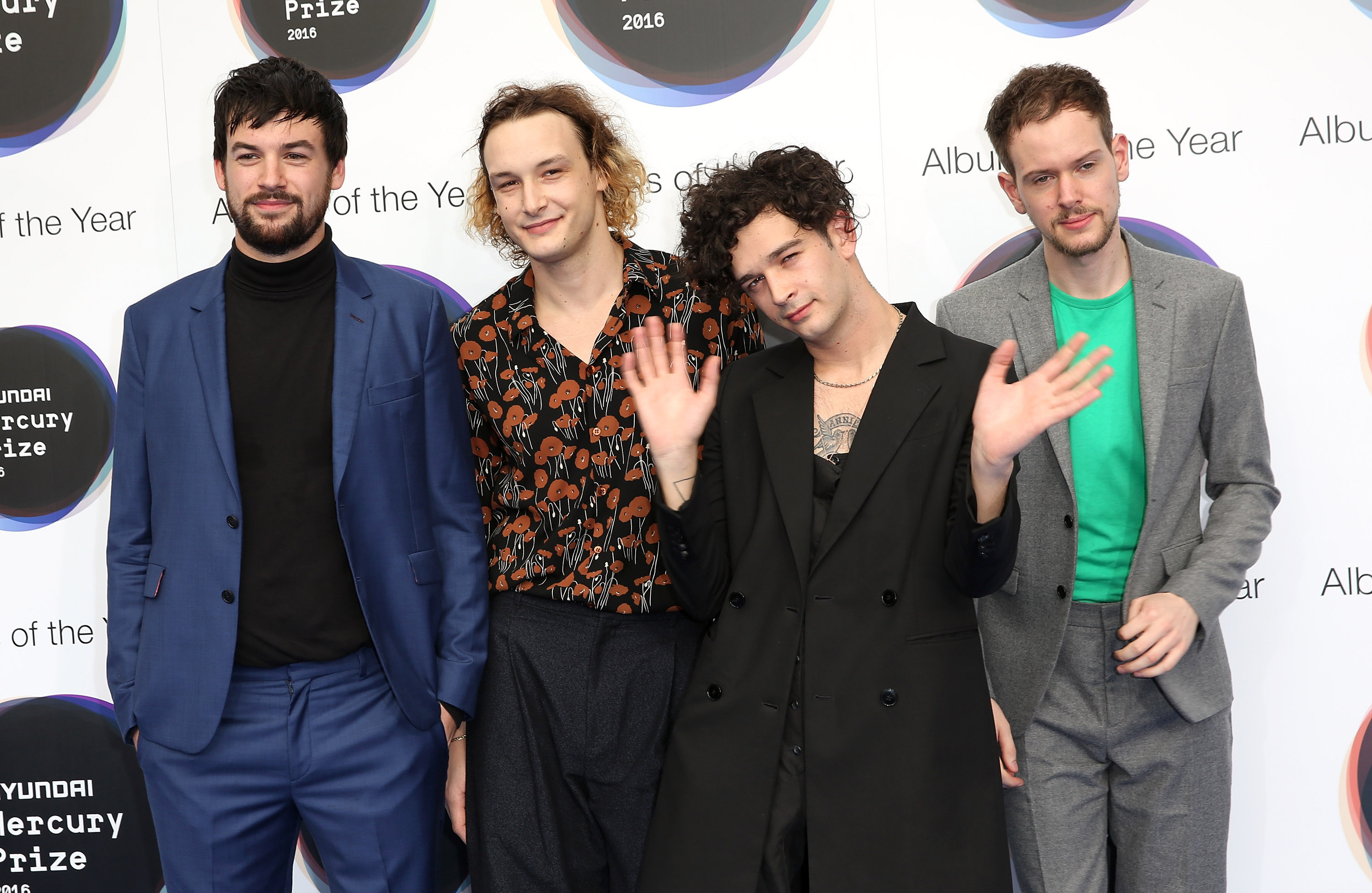 LONDON, ENGLAND - SEPTEMBER 15:  Ross MacDonald, George Daniel, Matthew Healy and Adam Hann of The 1975 pose for a photo at the Hyundai Mercury Prize 2016 at Eventim Apollo on September 15, 2016 in London, England.  (Photo by Tim P. Whitby/Getty Images)