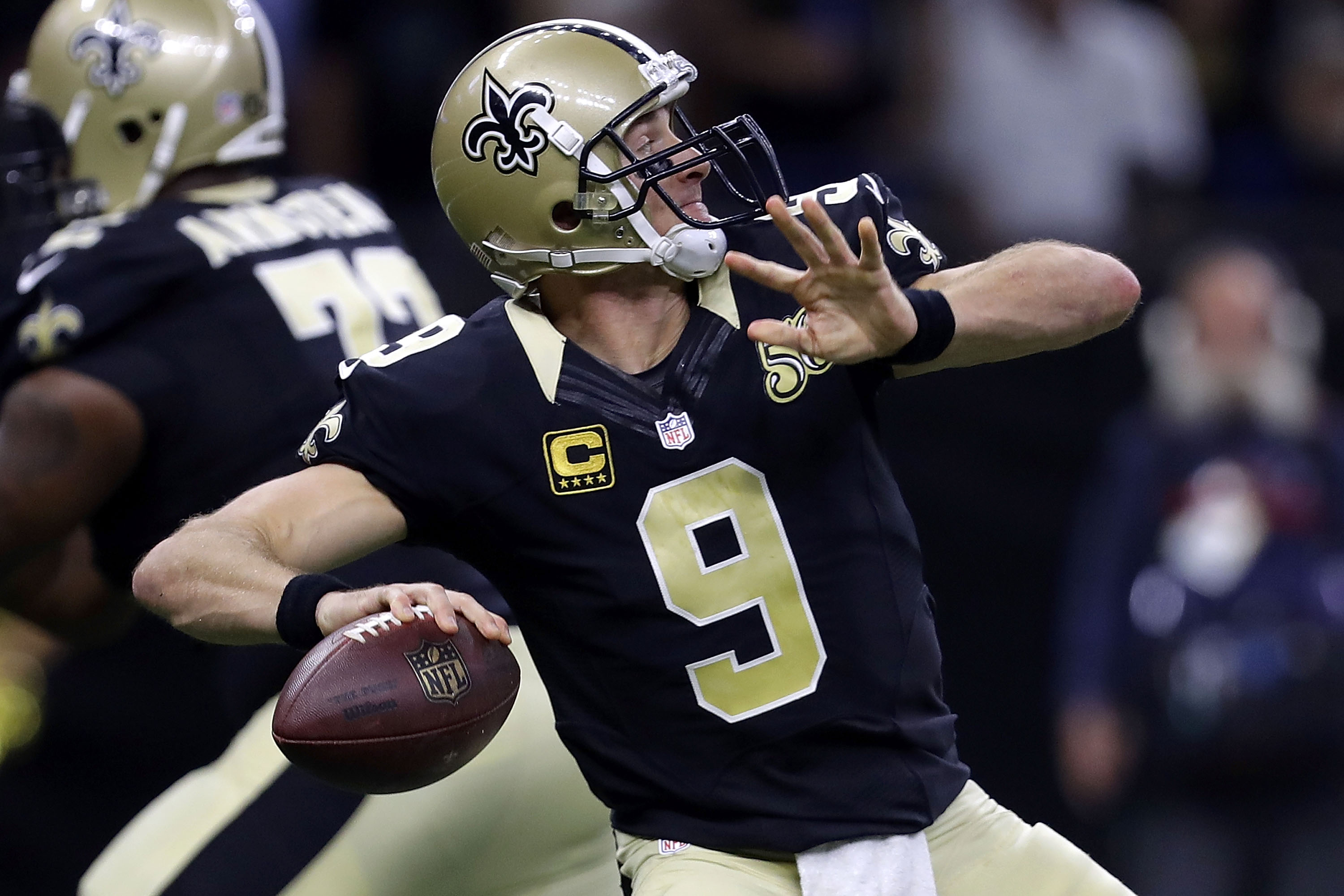 Drew Brees is benefitting from an improved defense. (Getty Images)