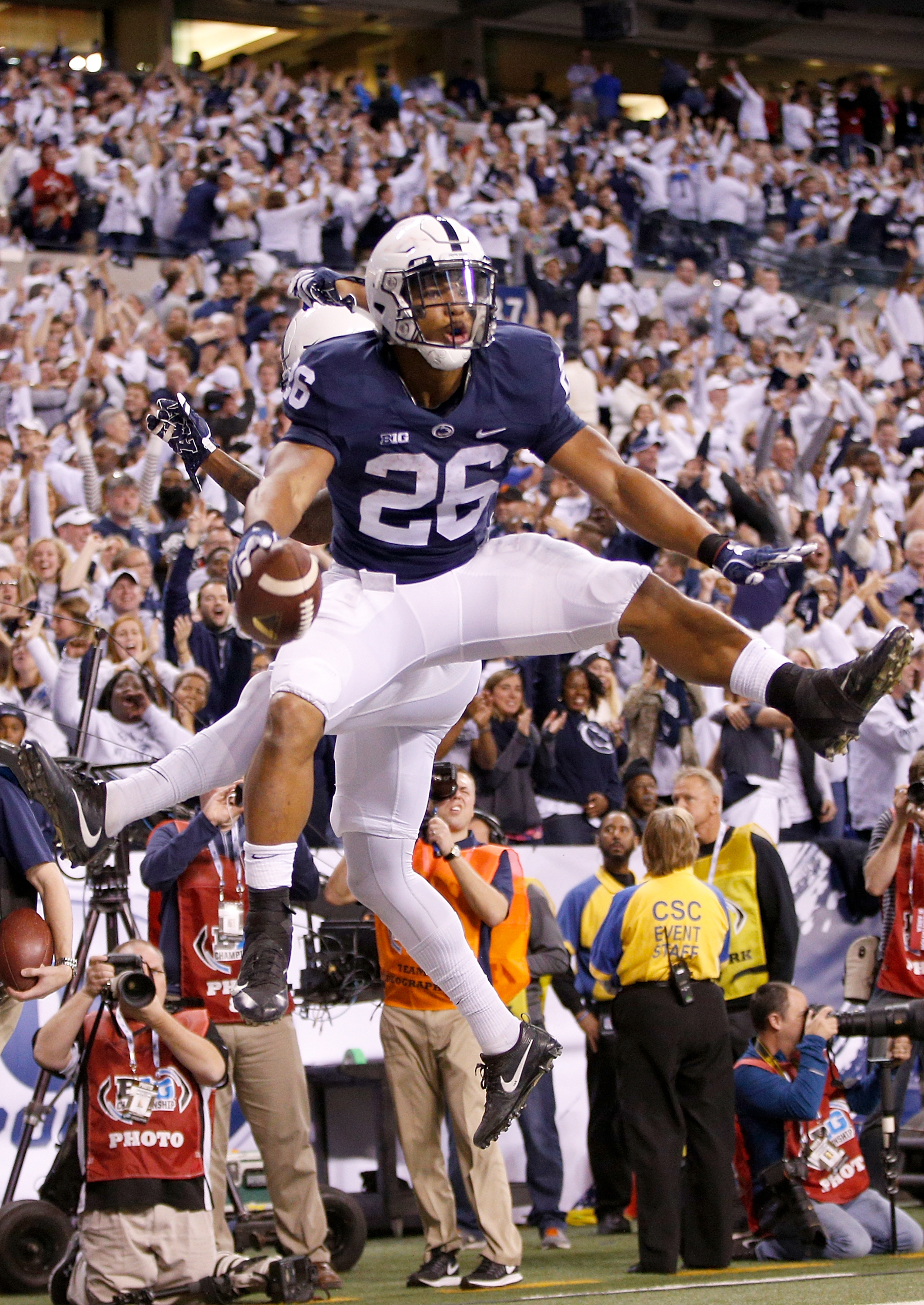Saquon Barkley and the Penn State Nittany Lions came back to Earth when the College Football Playoff spots were announced. (Getty Images)