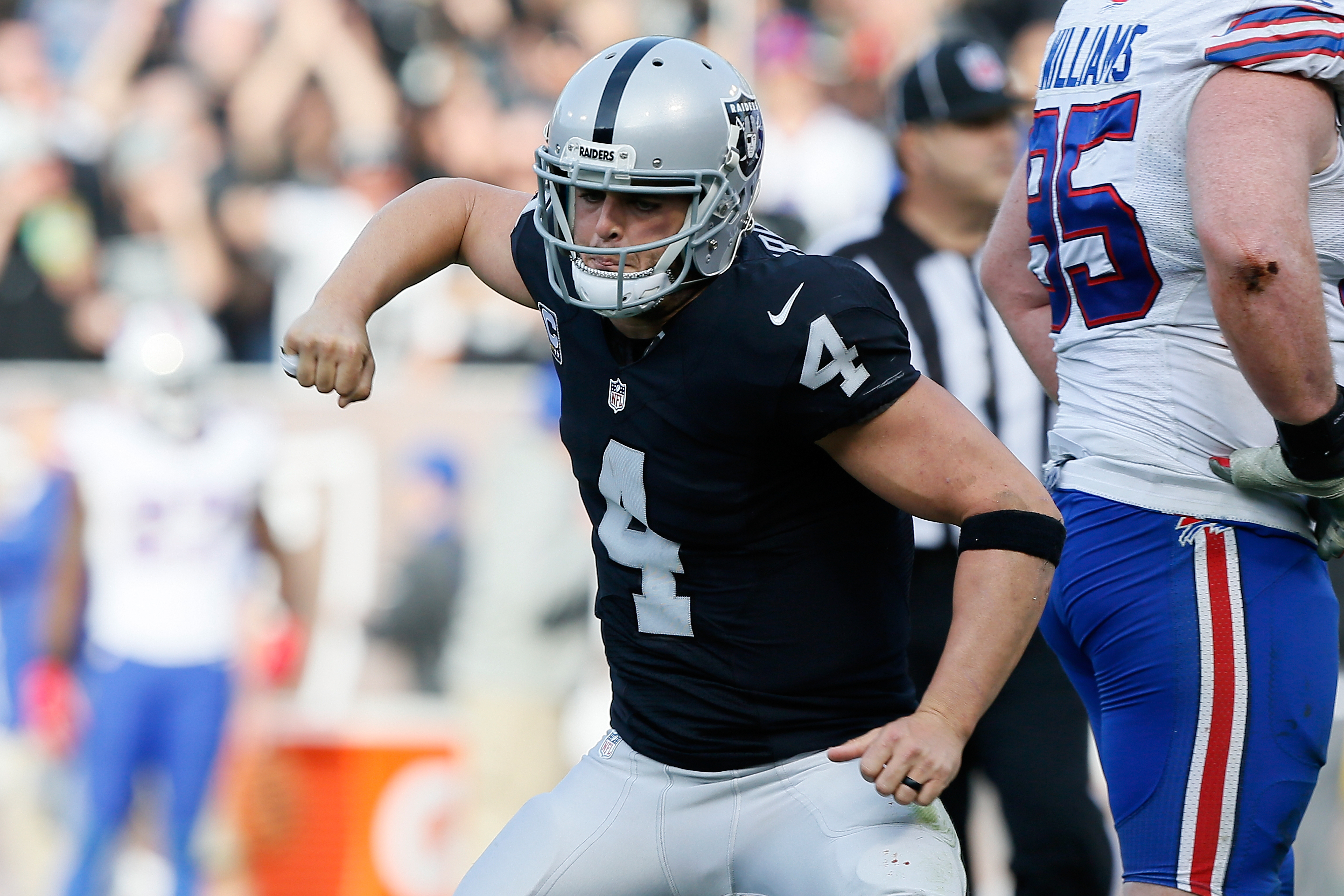 Derek Carr of the Oakland Raiders celebrates during Oakland's comeback. (Getty Images)