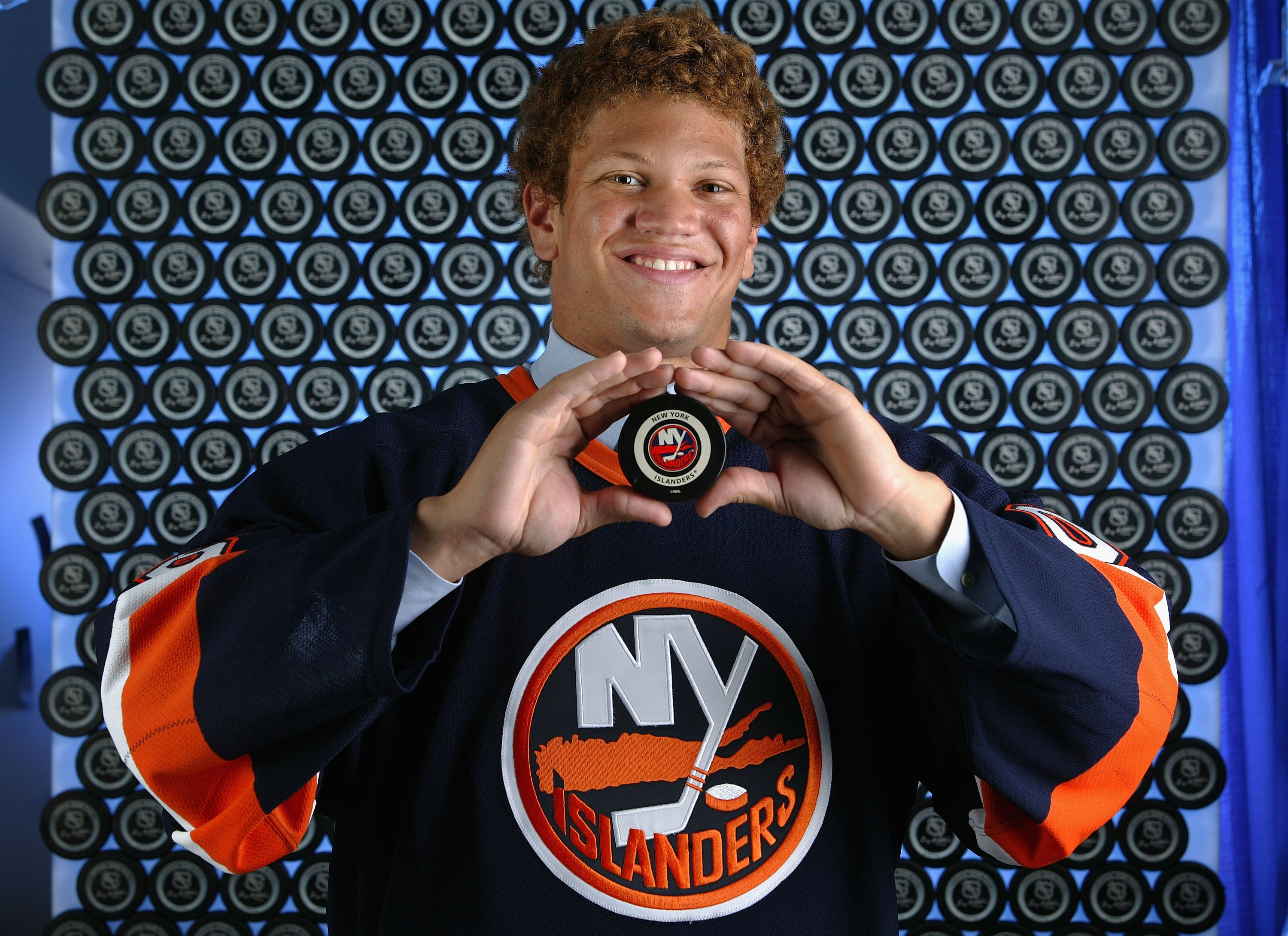 Kyle Okposo grew up with the Islanders after being the No. 7 pick in the 2006 NHL Draft. (Getty Images)