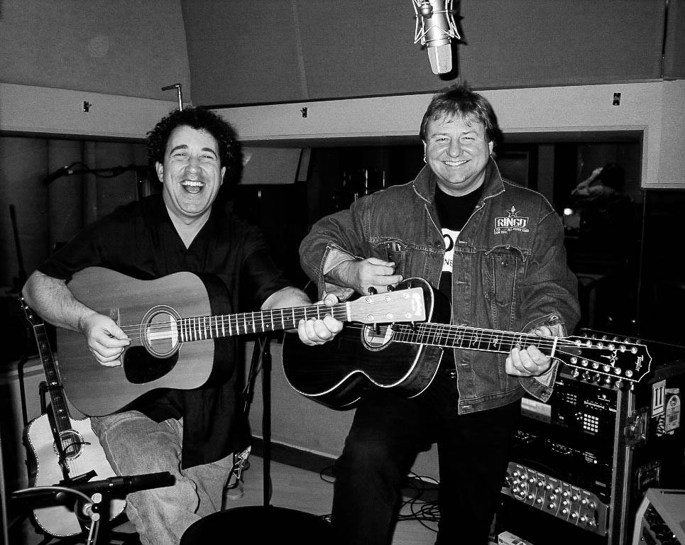 Buffalo musician Michael Lee Jackson recording with Greg Lake in the late 90s. (Photo courtesy of Michael Lee Jackson)