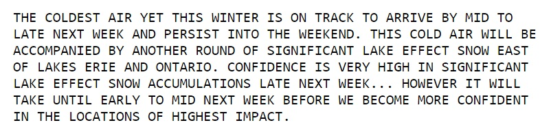 """Excerpt from the National Weather Service's """"Hazardous Weather Outlook."""" (National Weather Service, Buffalo)"""