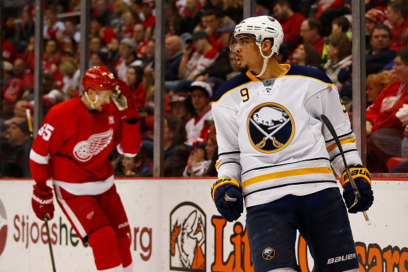 Evander Kane celebrates his game-winning goal in the third period Tuesday night in Detroit (Getty Images).
