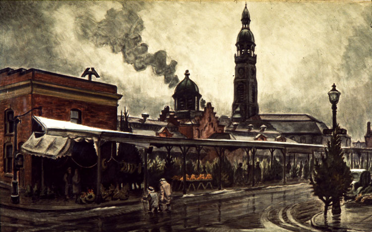 The Market at Christmas Time (1929-41), shows the old Chippewa Market with St. Michael's in the distance. While St. Michael's still stands, the building was heavily damaged in a 1954 fire. (Charles E. Burchfield Archives)