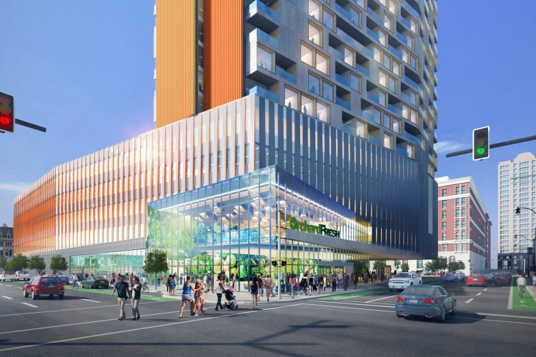 Plans unveiled for 18-story apartment tower, city grocery