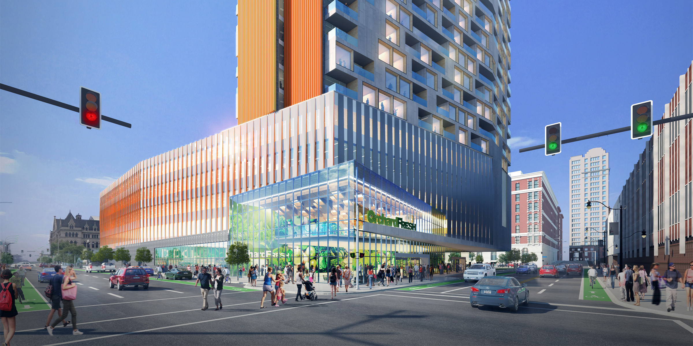 A rendering of the planned new 18-story mixed-use complex at 201 Ellicott St., featuring Orchard Fresh at the corner of Oak and Clinton streets.