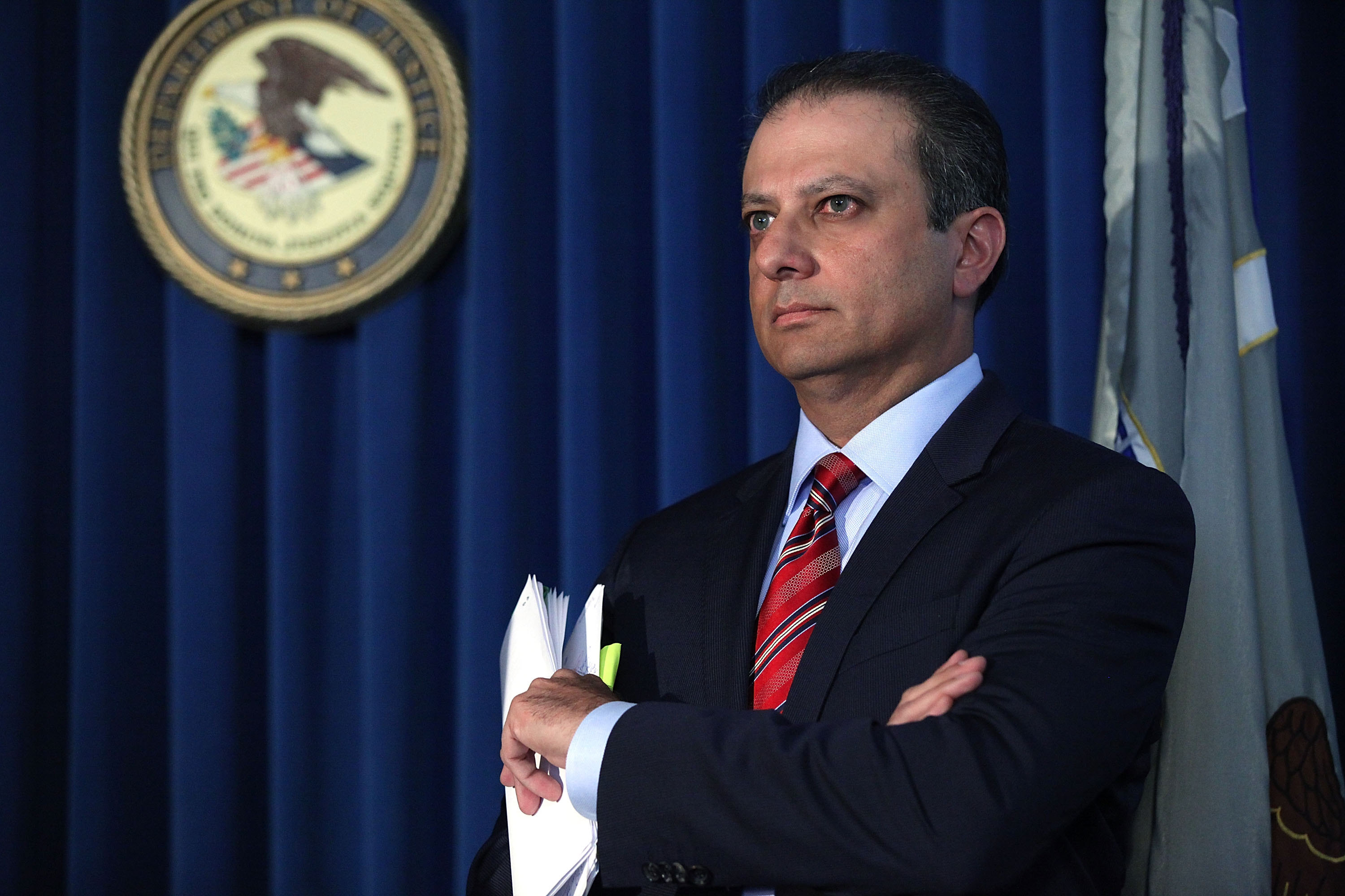 U.S. Attorney Preet Bharara revealed a grand jury indictment against a former portfolio manager at the pension fund for state and local government employees.