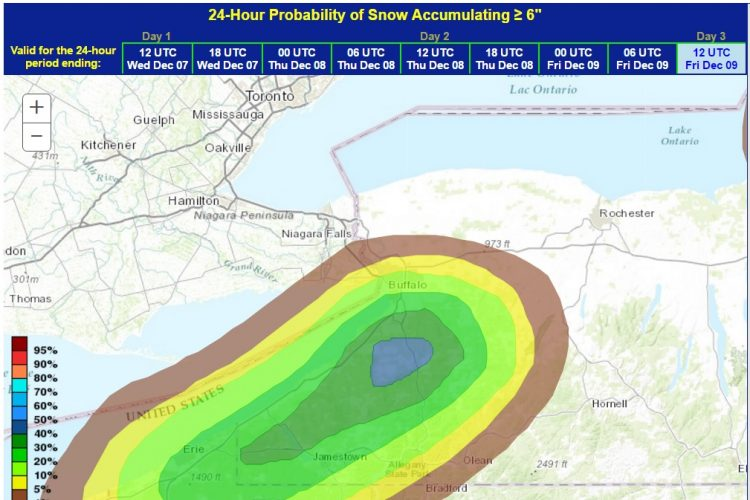 2 or 3 feet of lake-effect snow could fall south of Buffalo