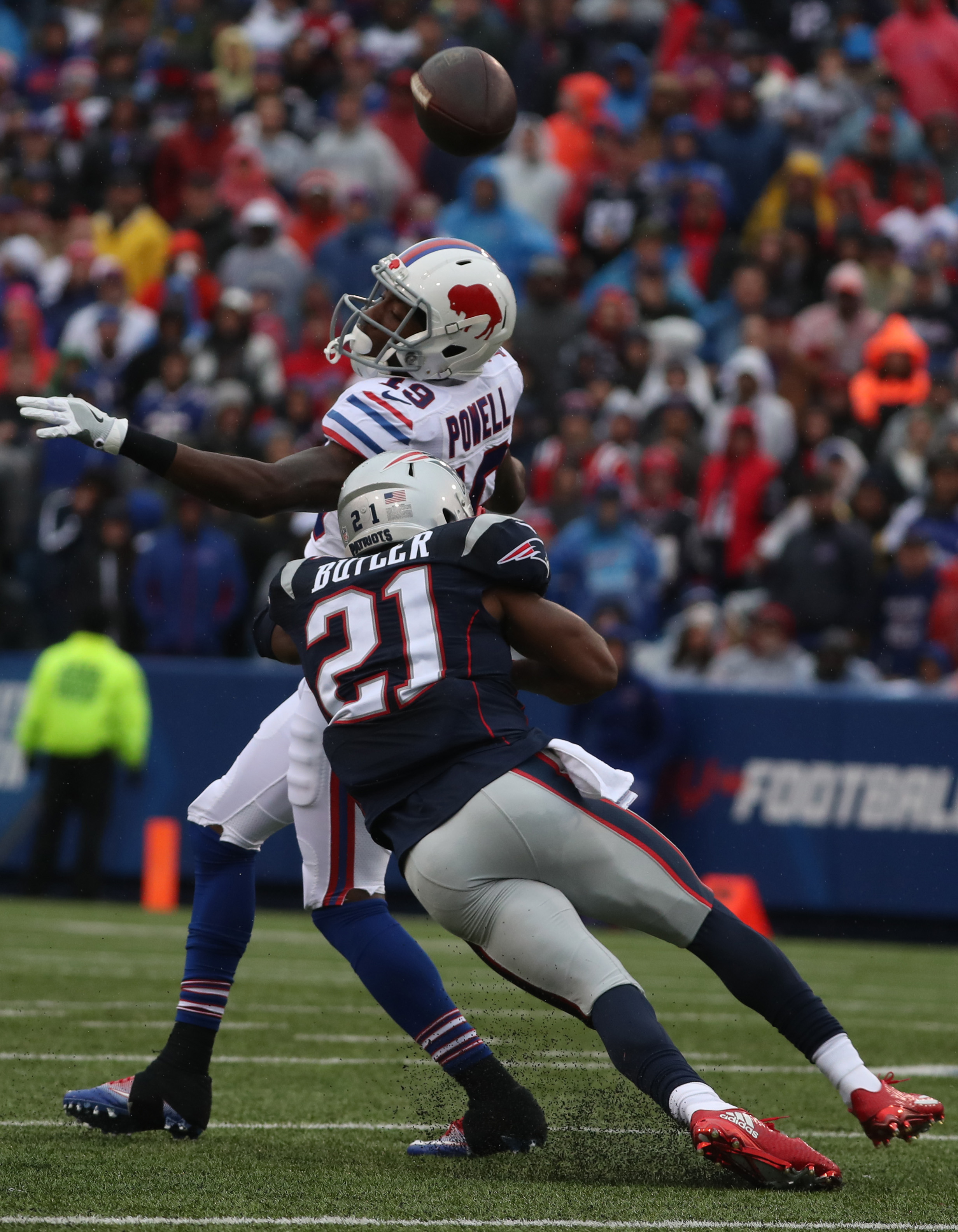 Buffalo Bills wide receiver Walt Powell (19) drops a pass whilecovered by New England Patriots cornerback Malcolm Butler (21) in the second quarter at New Era Field in Orchard Park, Sunday, Oct. 30, 2016. (James P. McCoy/Buffalo News)