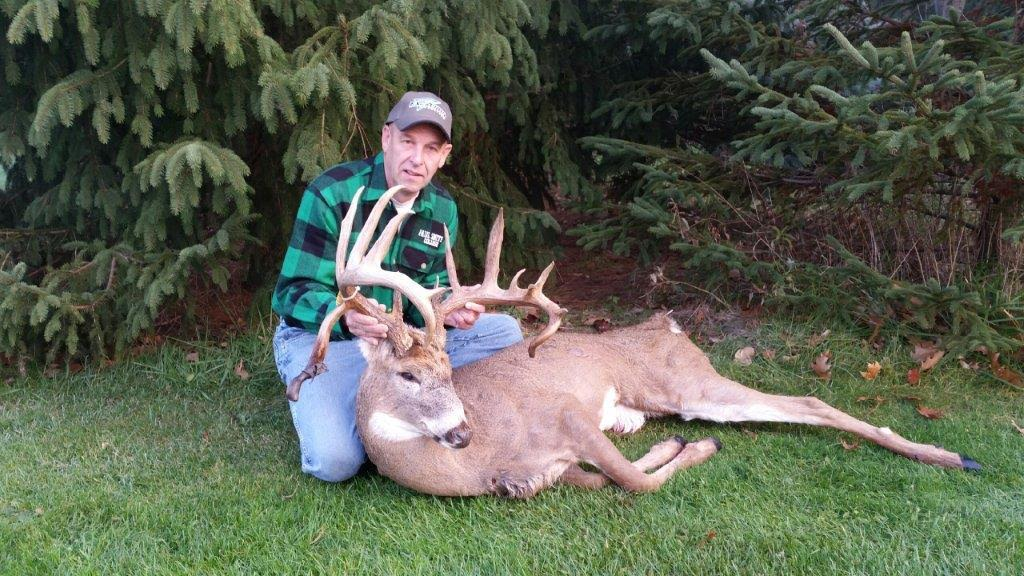 Steve Kroening of Cambria took the buck of a lifetime during crossbow season this year, a massive 16-pointer that will score around 195 after the drying-out period. The deer weighed approximately 170 field dressed and was 5-1/2 years old.