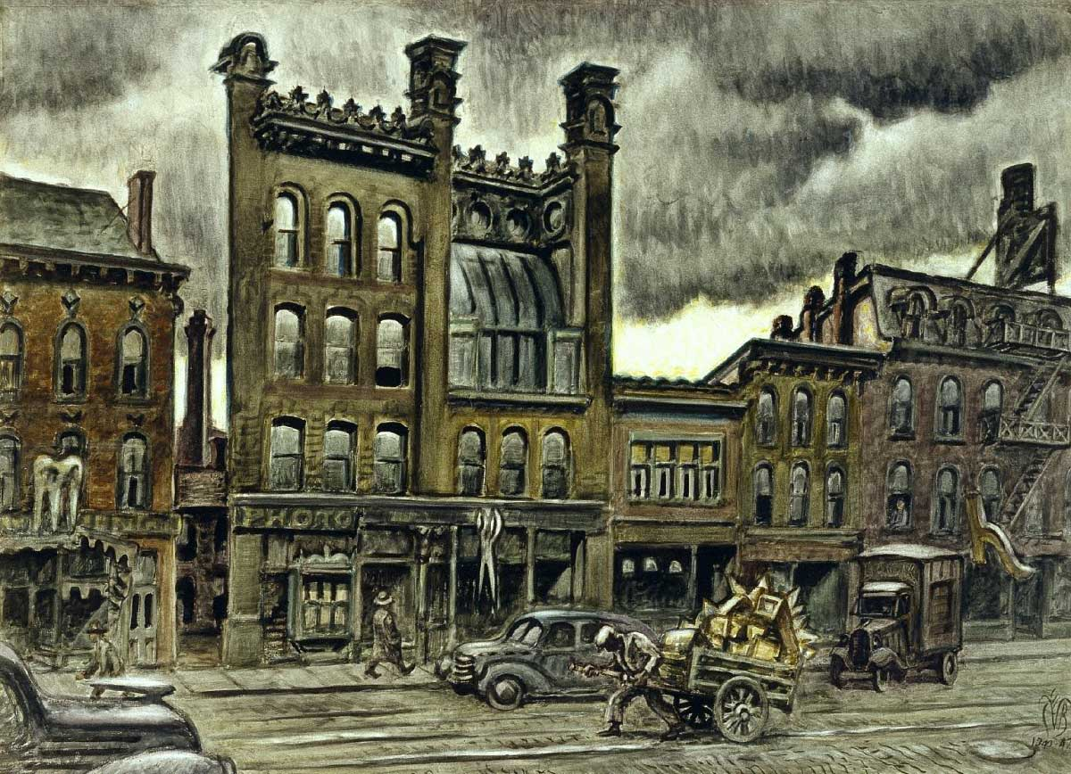"""This week marks the 50th anniversary of the Burchfield-Penney Art Center. Chronicles is looking back at Charles Burchfield's Buffalo in three parts— what contemporary Buffalo thought of the artist, Buffalo landmarks captured by Burchfield that have been torn down, and the Buffalo places captured by Burchfield's brush that still stand. This painting is """"Street Scene,"""" (1940-47) and depicts Genesee Street between Ellicott and Oak. (Charles E. Burchfield archives)"""