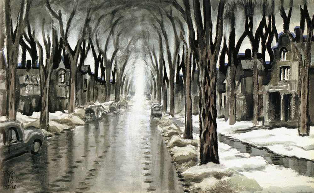 "Burchfield's ""Street Vista in Winter,"" 1957-60. (Charles E. Burchfield Archives) Below: Today's view up Linwood Avenue between Summer and Barker."