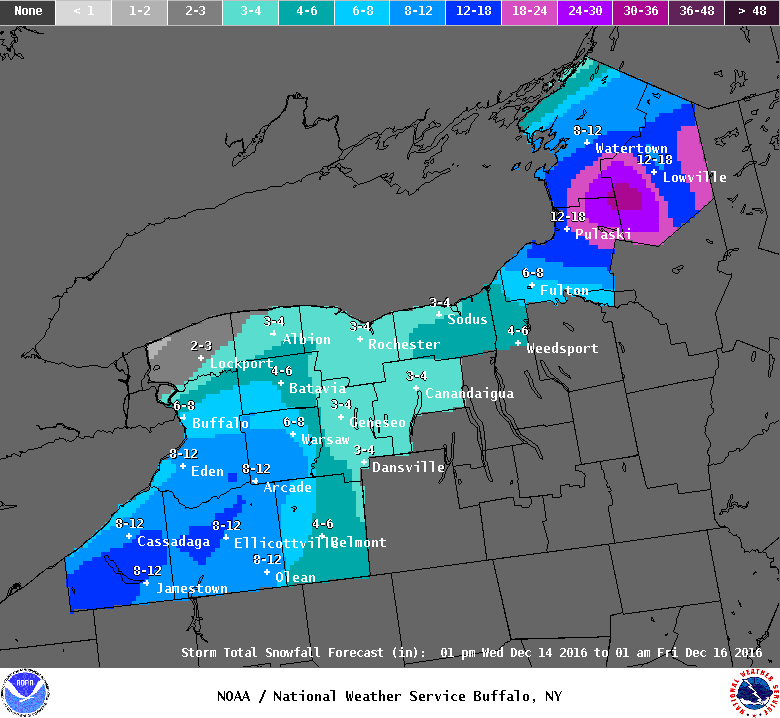 Up to seven inches of snow is expected in Buffalo by early Friday, according to the National Weather Service. All of Erie County is under a lake-effect snow warning from 1 p.m. Wednesday to 1 a.m. Thursday. (National Weather Service)