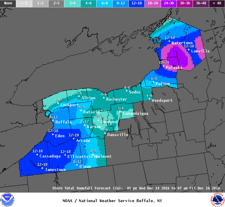 Up to a foot of snow is possible in metro Buffalo by 7 a.m. Friday, according to the National Weather Service. (NWS Buffalo)