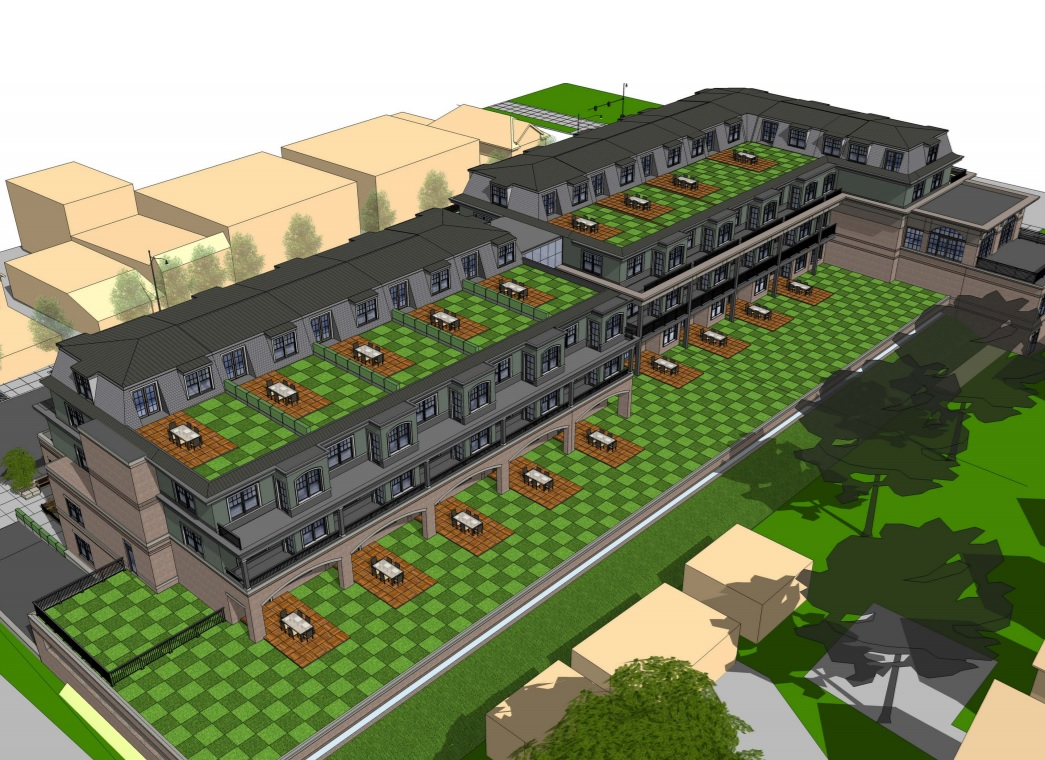 An aerial view of the backyard roof terraces at the proposed development at Elmwood and Forest avenues.