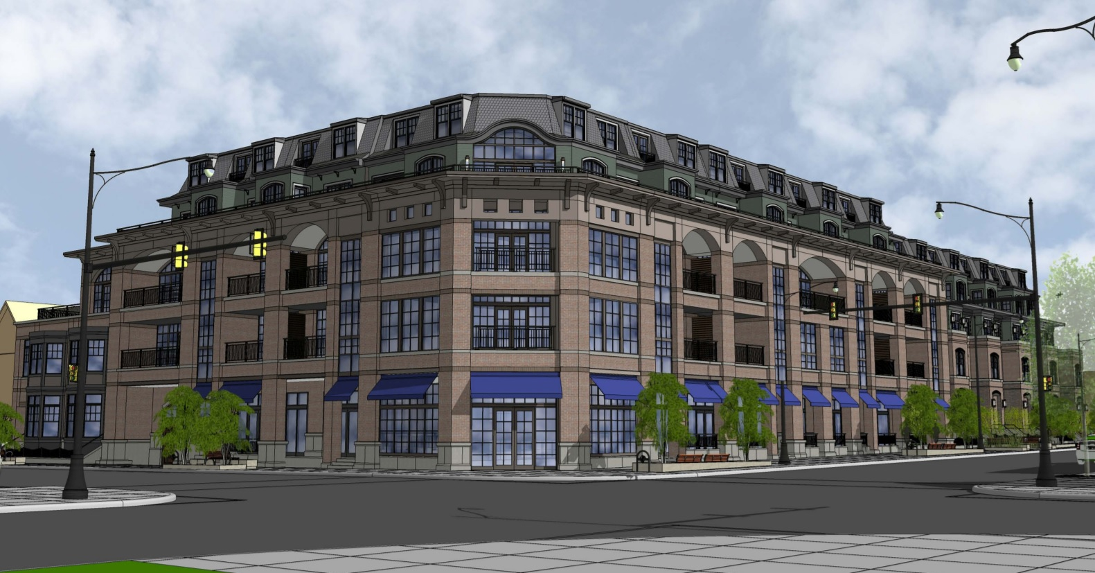 Renderings of the proposed development at Elmwood and Forest avenues.