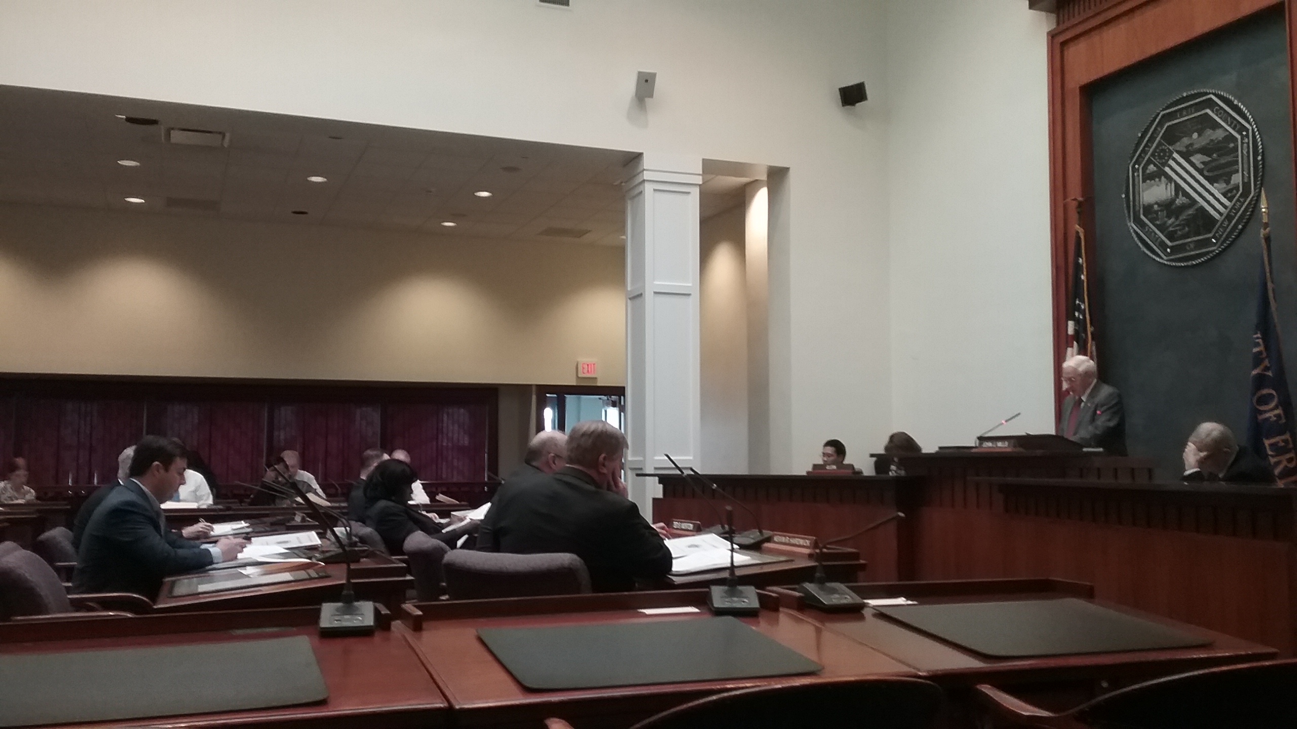 Chairman John Mills presides over a meeting of the Erie County Legislature.
