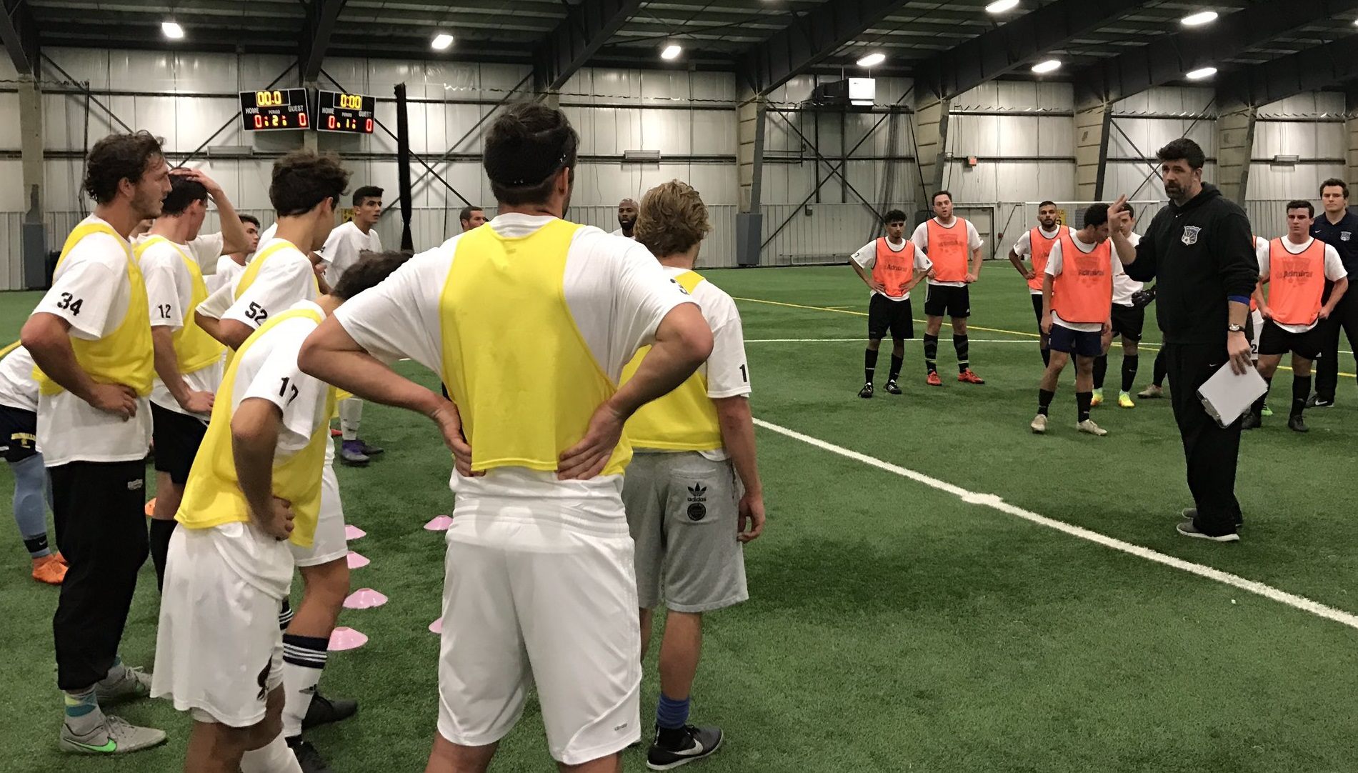 FC Buffalo head coach Brendan Murphy addresses tryout participants. (via FC Buffalo)