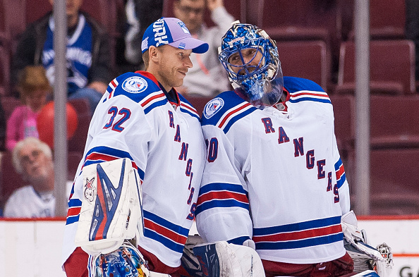 Antti Raanta, left, gave Henrik Lundqvist a two-day break and got two wins for the Rangers (Getty Images).